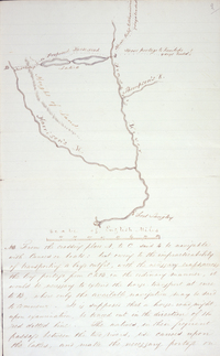 Sketch map accompanying Suggestions for the exploration of a new route of communication by which ...the transport of the supplies and returns to and from the Districts of New Caledonia and Thompson's River might be advantageously cariedcarried on in connexion with Fort Langley and the new establishment of Victoria