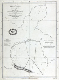 Sketch of Scott's Bay on the N.W. Coast of America. Lat. 50 38N. Long. 128 35W. [and] Sketch of Friendly Bay in Nootka Sound. Lat. 49 37N. Long. 126 48 W. Variation 18 E. Sketch of Friendly Bay in Nootka Sound. Lat. 49 37N. Long. 126 48 W. Variation 18 E.