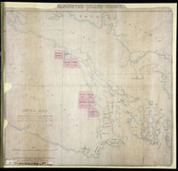 Index Map: to explain the connection between the separate District Maps (16 in number), 8 of which, coloured pink, are described in the communication to His Exellency the Governor dated July 22nd, 1859. Vancouver Island Colony. Sketch Maps of Districts.