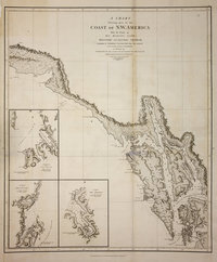 Chart shewing part of the coast of N.W. America. With the tracks of His Majesty's Sloop Discovery and Armed Tender Chatham.  Commanded by George Vancouver, Esqr. and prepared under his immediate inspection by Lieut. Joseph Baker, in which the continental shore has been correctly traced and determined from lat. 57⁰,07ʹ 1/2 N. and long. 227⁰,00ʹ E. to lat. 59⁰,59ʹ N. and long. 219⁰,00ʹ E. at the periods shewn by the track ; engraved by T. Foot. Voyage of discovery to the North Pacific Ocean, and round the world.