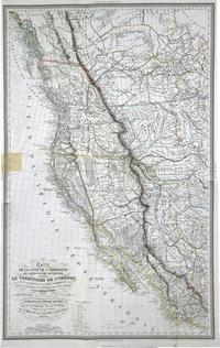Carte de la côte de l'Amérique sur l'océan Pacifique septentrional : comprenant le territoire de l'Orégon, les Californies, la Mer Vermeille, partie des territoires de la compagnie de la Baie d'Hudson et de l'Amérique Russe.  Exploration du territoire de l'Orégon, des Californies et de la mer Vermeille, exécutée pendant les années 1840, 1841 et 1842.