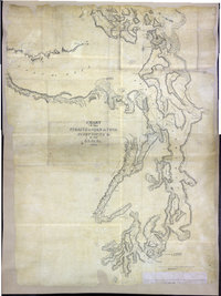 San Juan Water Boundary (Arbitration) : list of maps sent to Admiral Prevost at Berlin on the 12th June 1872 [map 36] Part of the Strait of Georgia with the channels leading into the Strait of Fuca