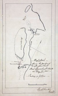 Sketch showing the position of a rock at Port Simpson (now Lax Kw'alaams), British Columbia (now in Canada) on which HMS Sparrowhawk struck on May 16 1866, with Fort Simpson, Finlayson Island and the track of the ship.