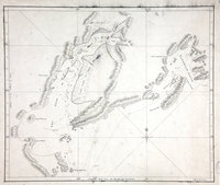 1 item (illustrating the log of HMS Resolution, Captain James Cook, May 1778) extracted from ADM 55/120. Canada: New Caledonia (now British Columbia). Sketch of the Gulf of Good Hope (now Cook Inlet) and Sandwich Sound (now Prince William Sound). Compass star.