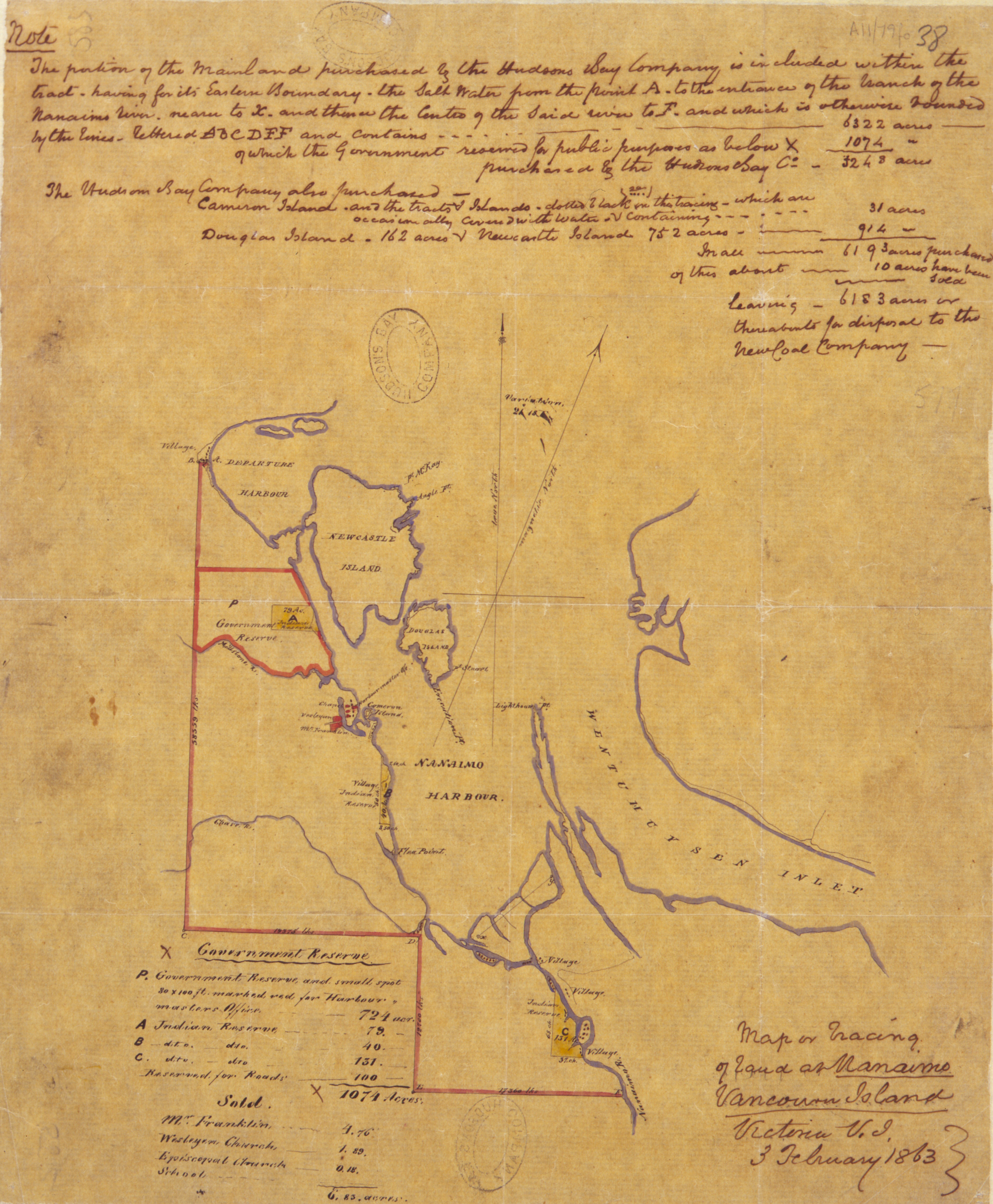 Map or Tracing of Land at Nanaimo Vancouver Island Victoria V.I. 3 February 1863