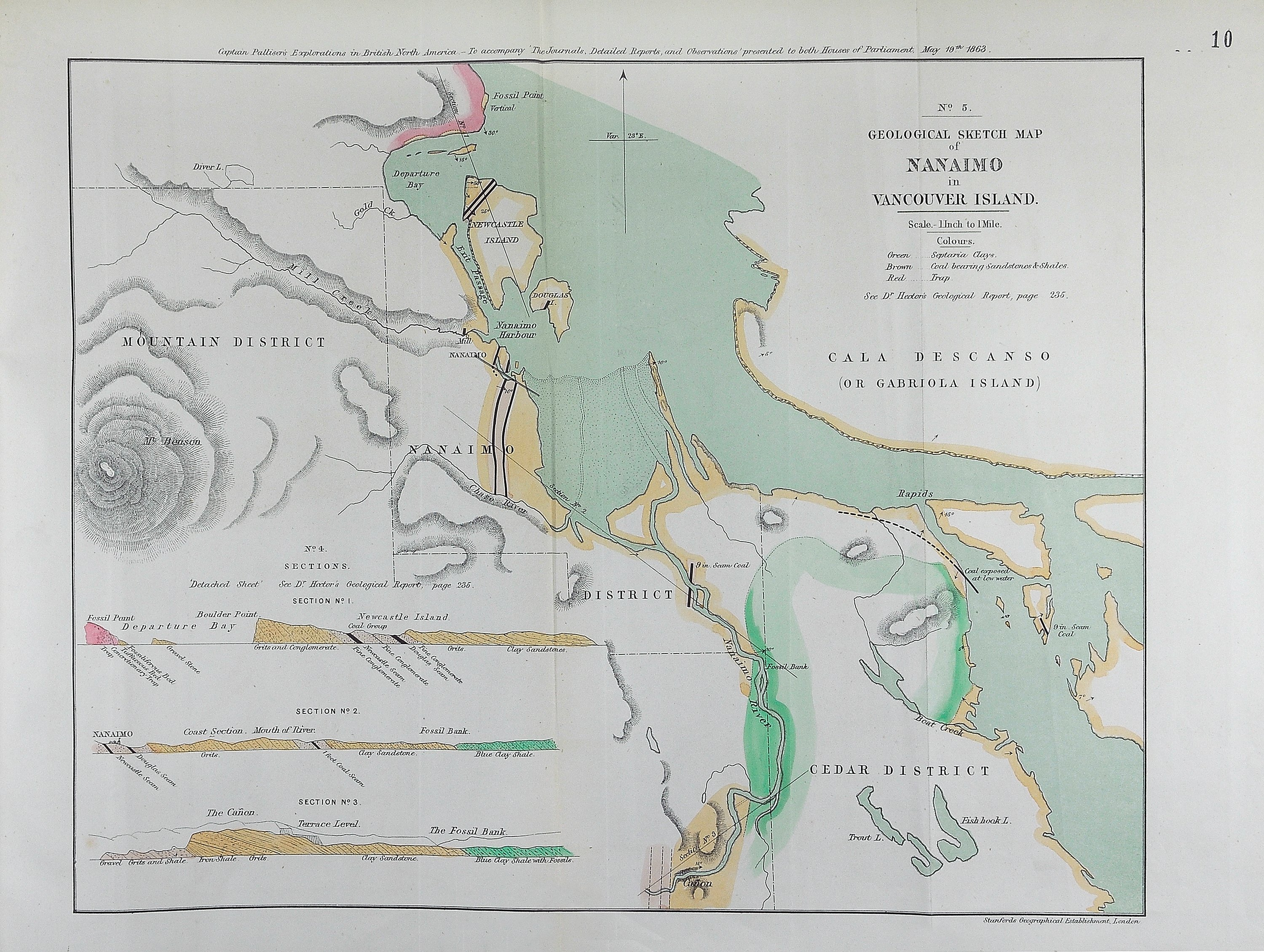 Geological sketch map of Nanaimo in Vancouver Island.