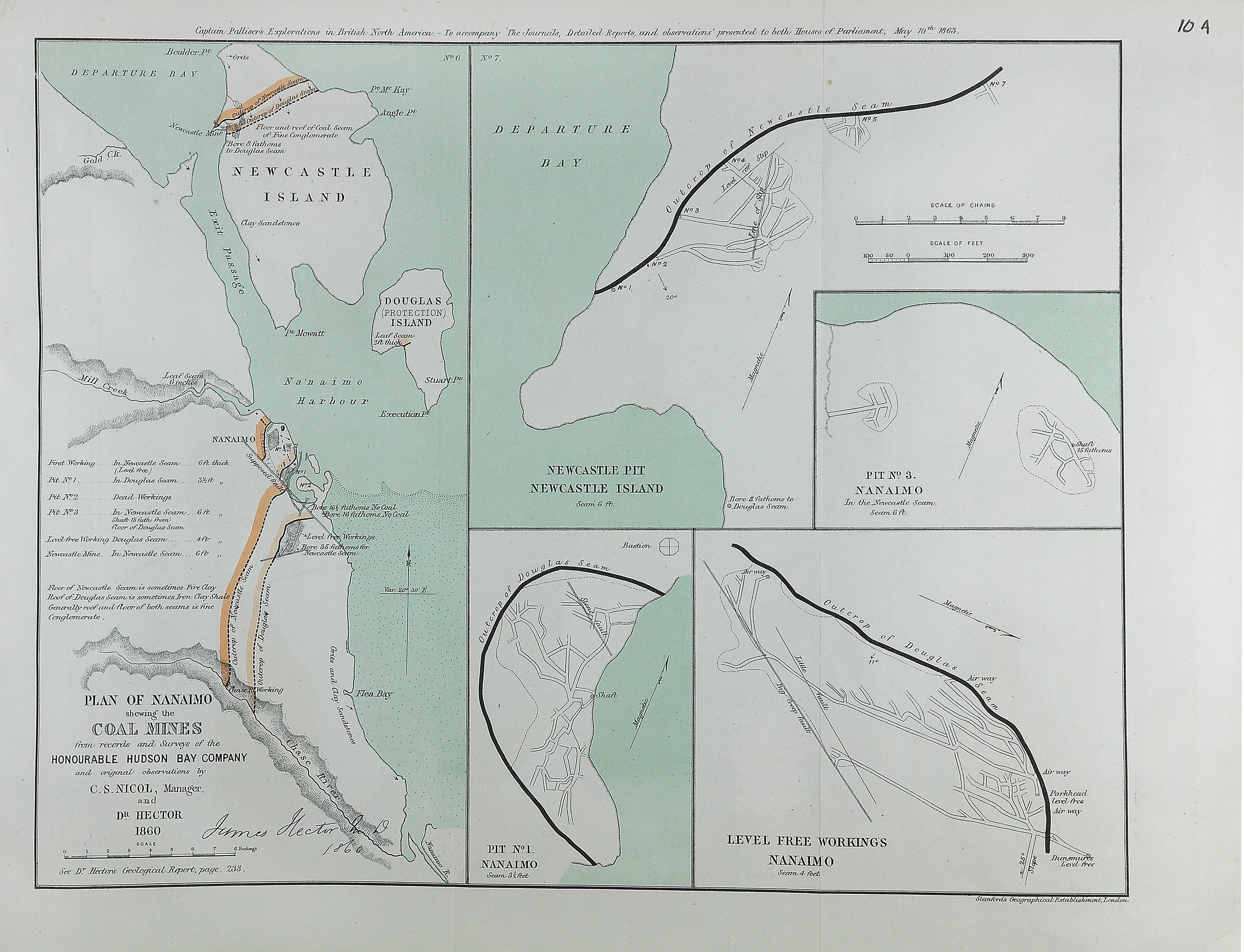 Plan of Nanaimo shewing the coal mines from records and surveys of the Honourable Hudson Bay Company and original observations.