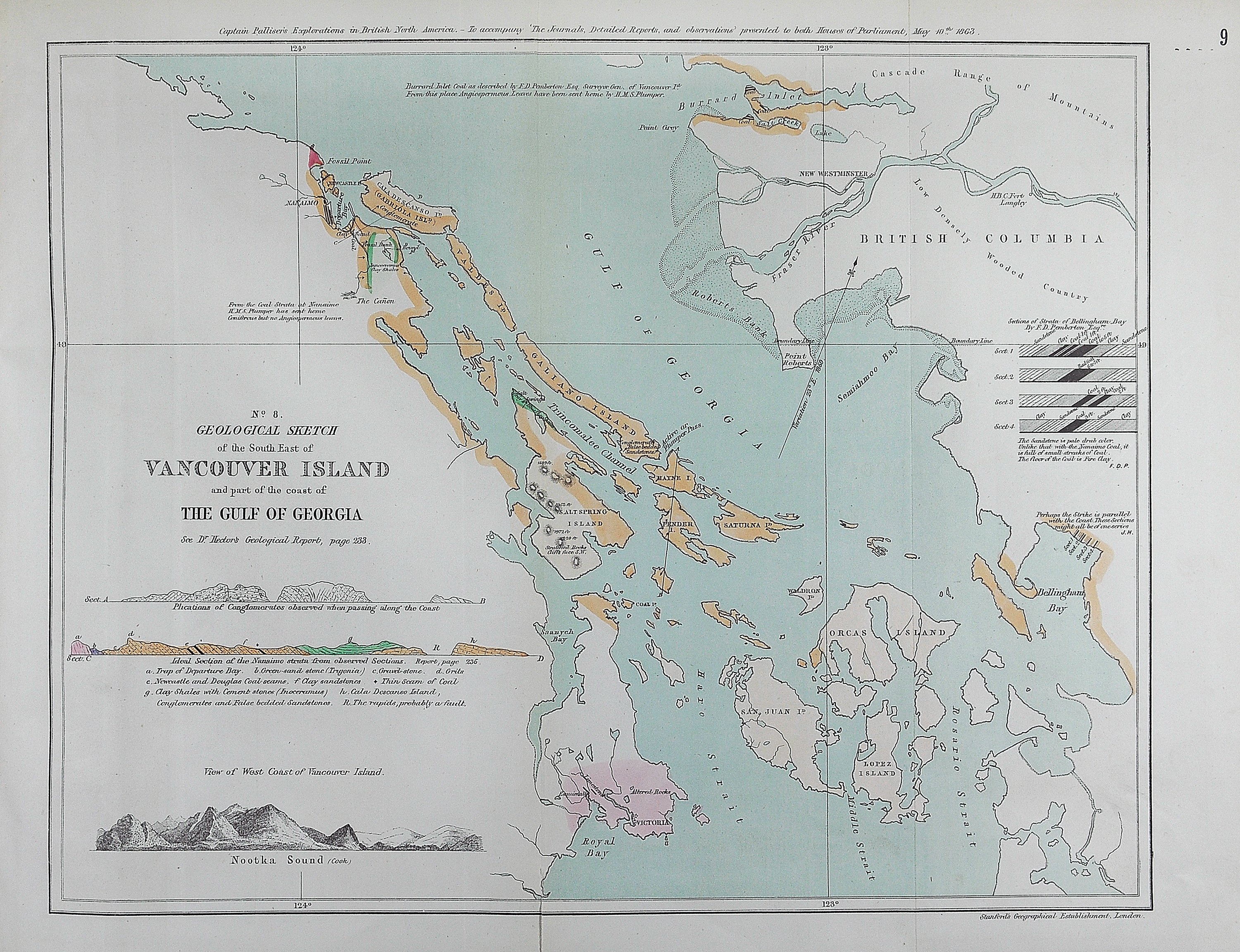 Geological sketch of the south east of Vancouver Island and part of the coast of the Gulf of Georgia.