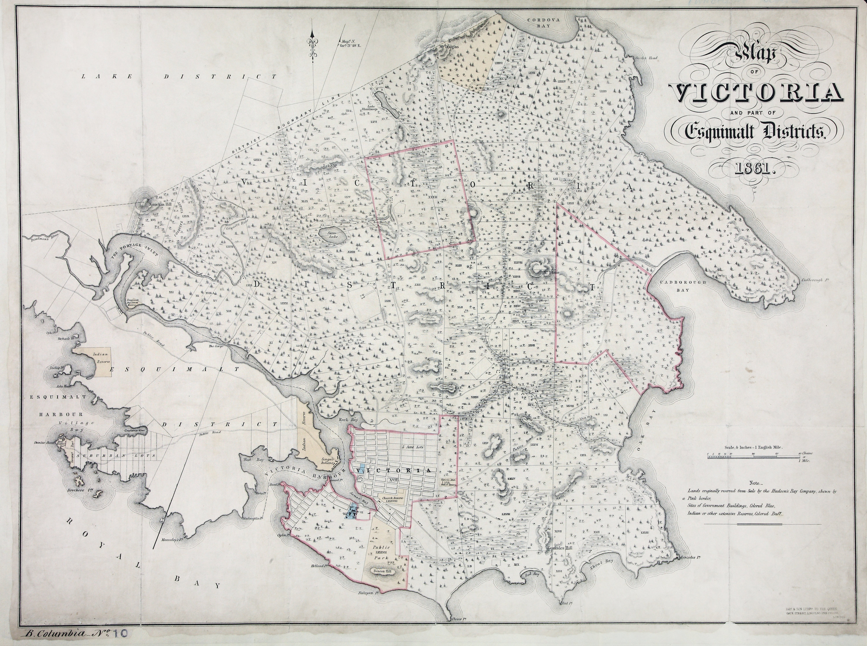 Map of Victoria and part of Esquimalt Districts, 1861.