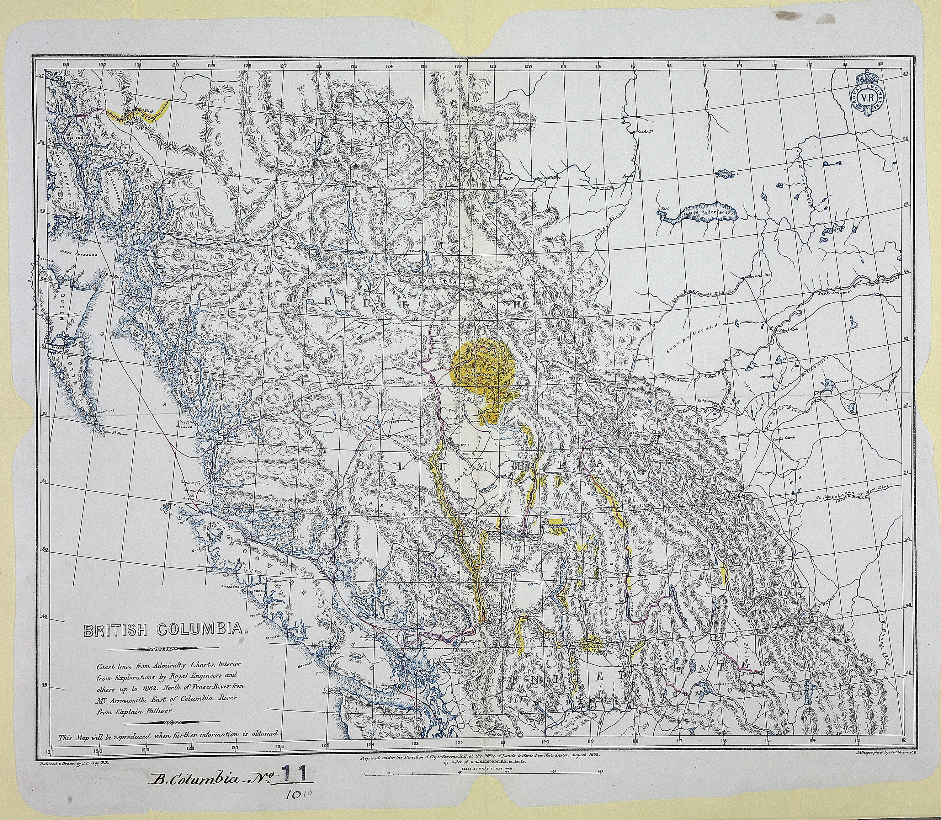 British Columbia, 1862. Coast lines from Admiralty charts, interior from explorations by Royal Engineers and others up to 1862. North of Fraser River from Mr. Arrowsmith, East of Columbia River from Captain Palliser.