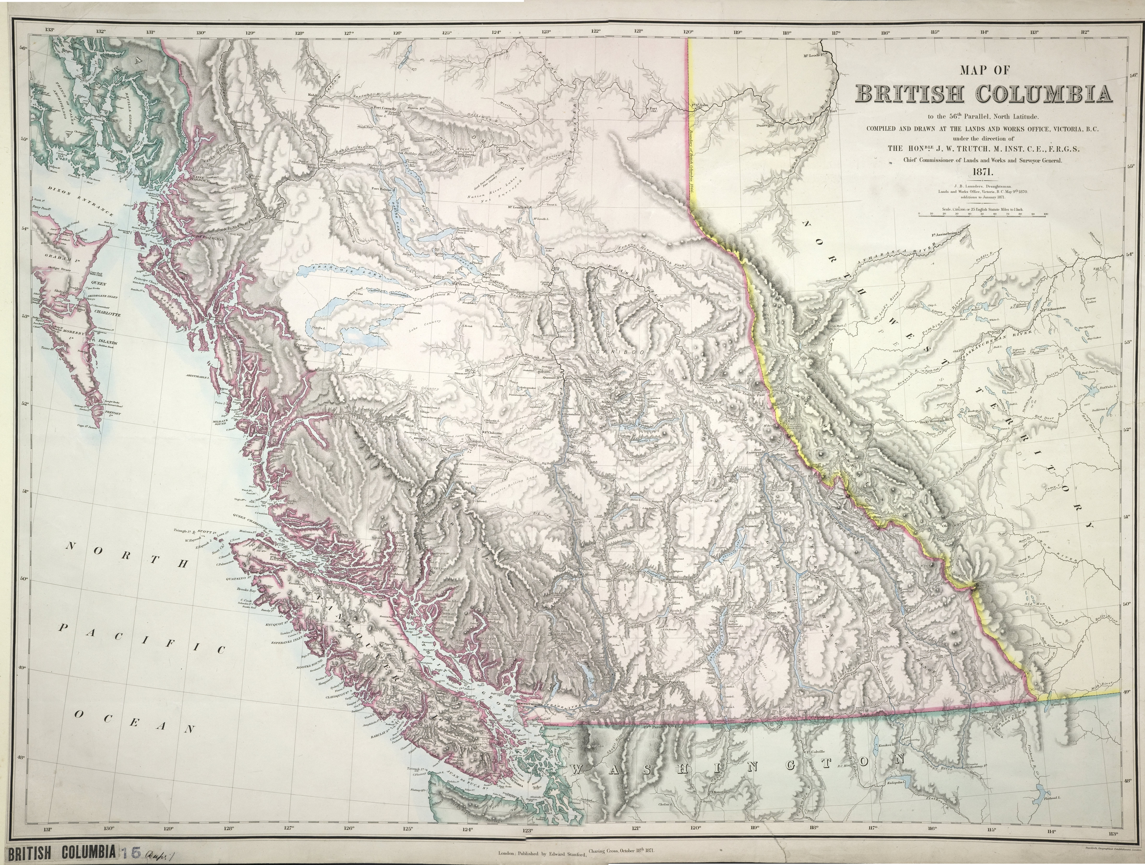 Map of British Columbia to the 56th Parallel North Latitude.