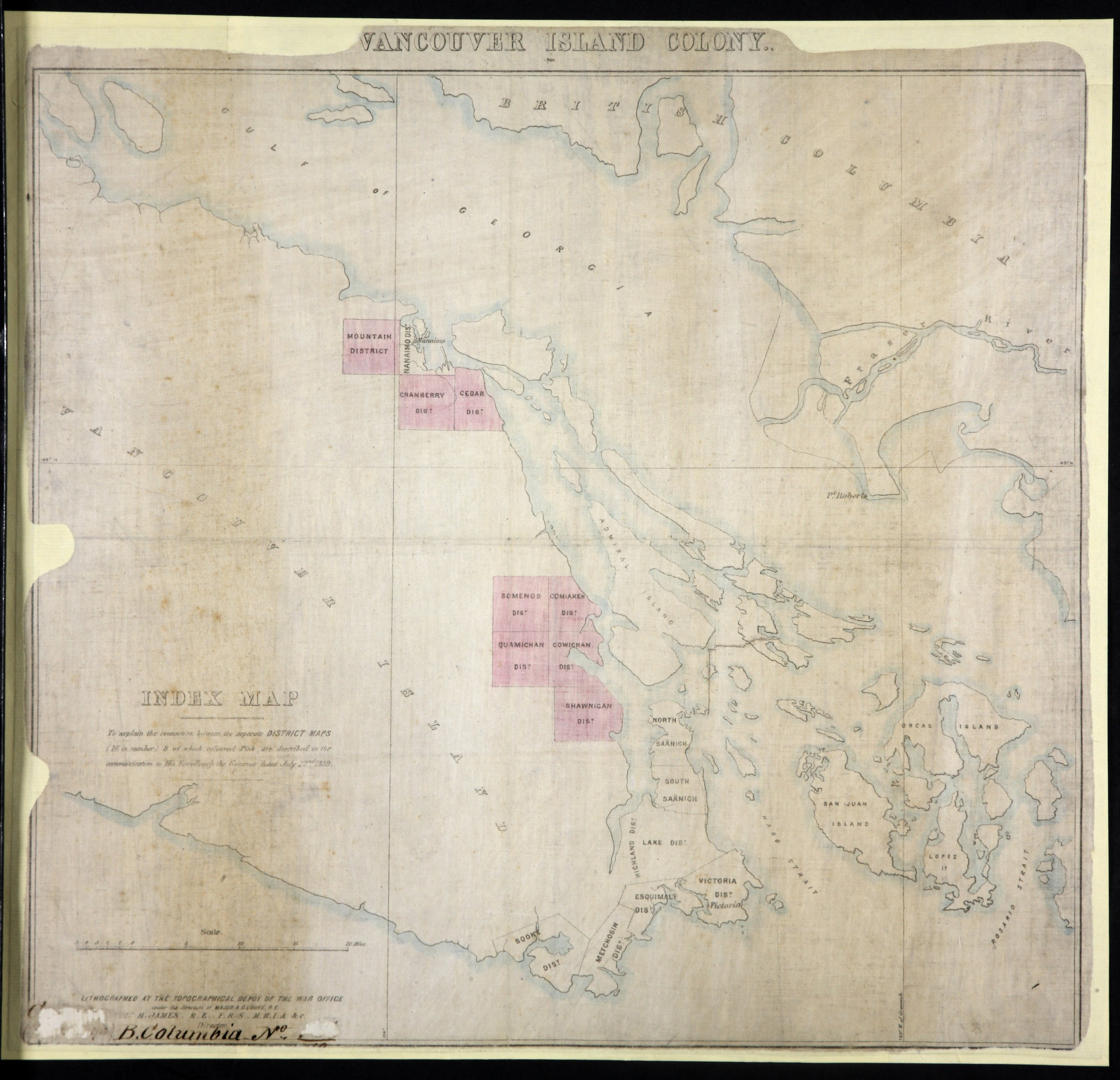 Index Map: to explain the connection between the separate District Maps (16 in number), 8 of which, coloured pink, are described in the communication to His Exellency the Governor dated July 22nd, 1859.
