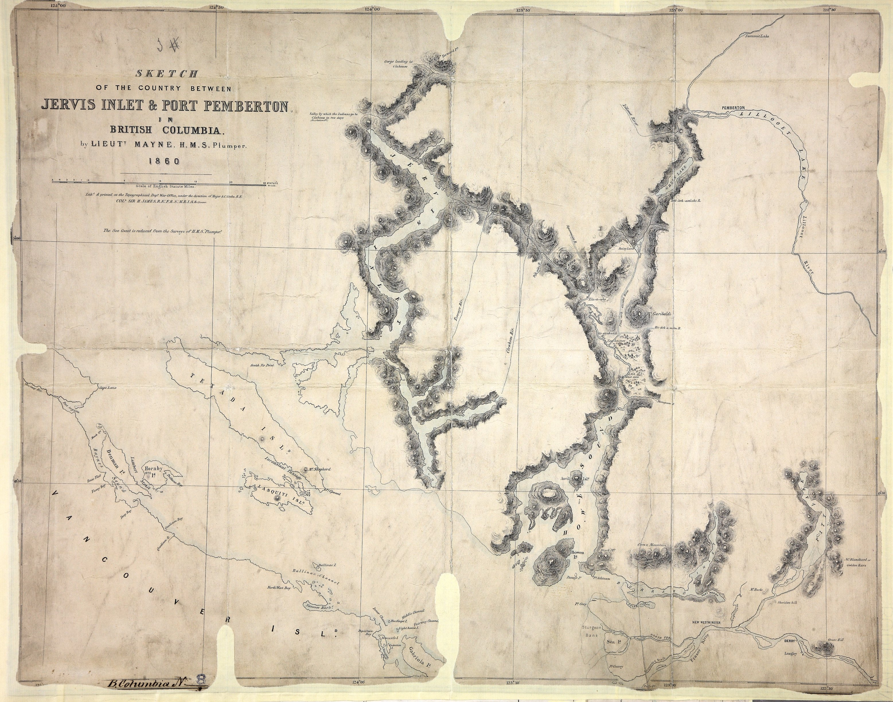 Bc Washington Map.Sketch Of The Country Between Jervis Inlet And Port Pemberton In