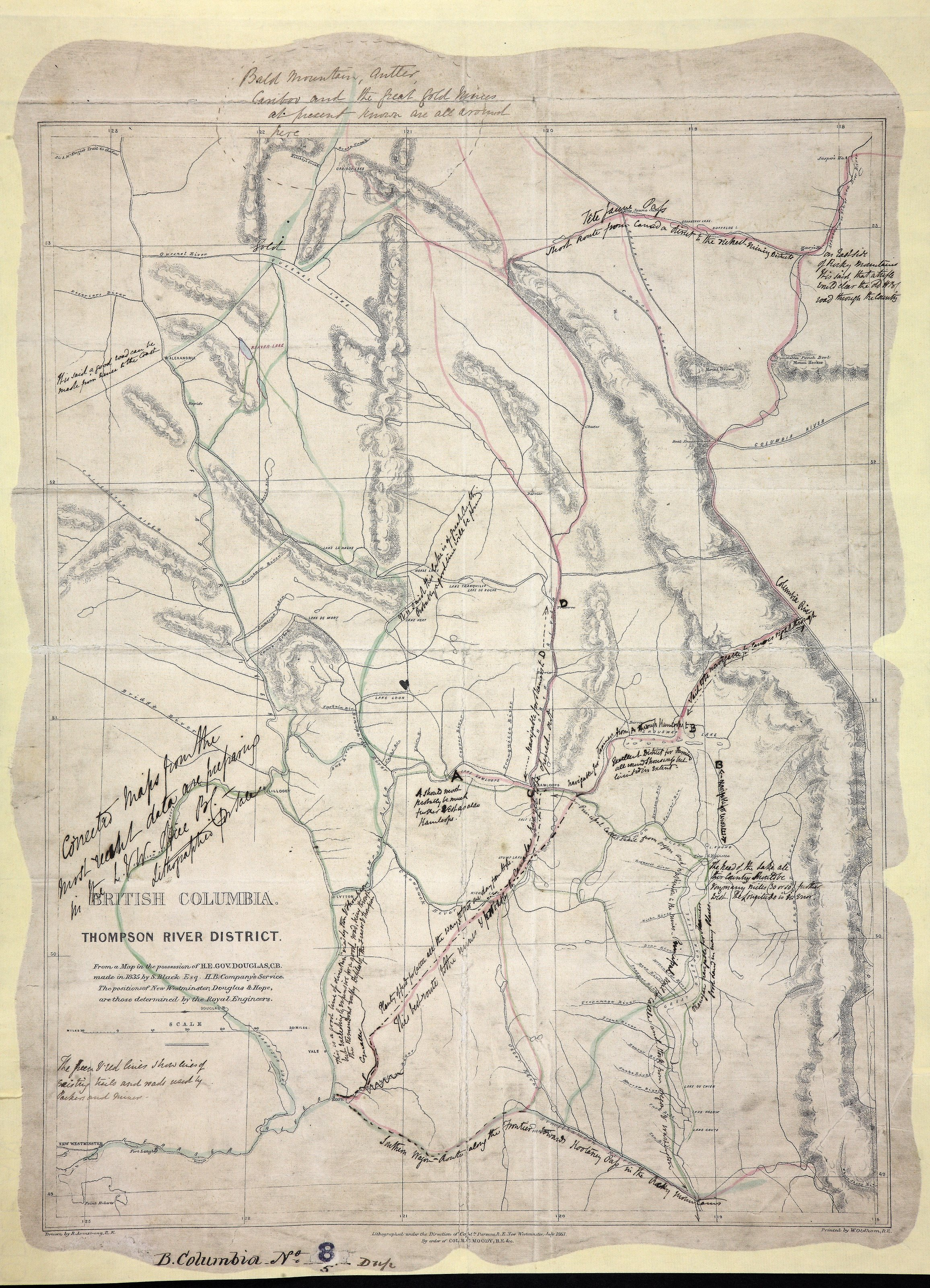 Thompson River District, from a Map in the possession of H. E. Gov. Douglas, C.B., made in 1835 by S. Black, Esq., Hudson's Bay Company's service. The positions of New Westminster, Douglas & Hope, are those determined by the Royal Engineers.