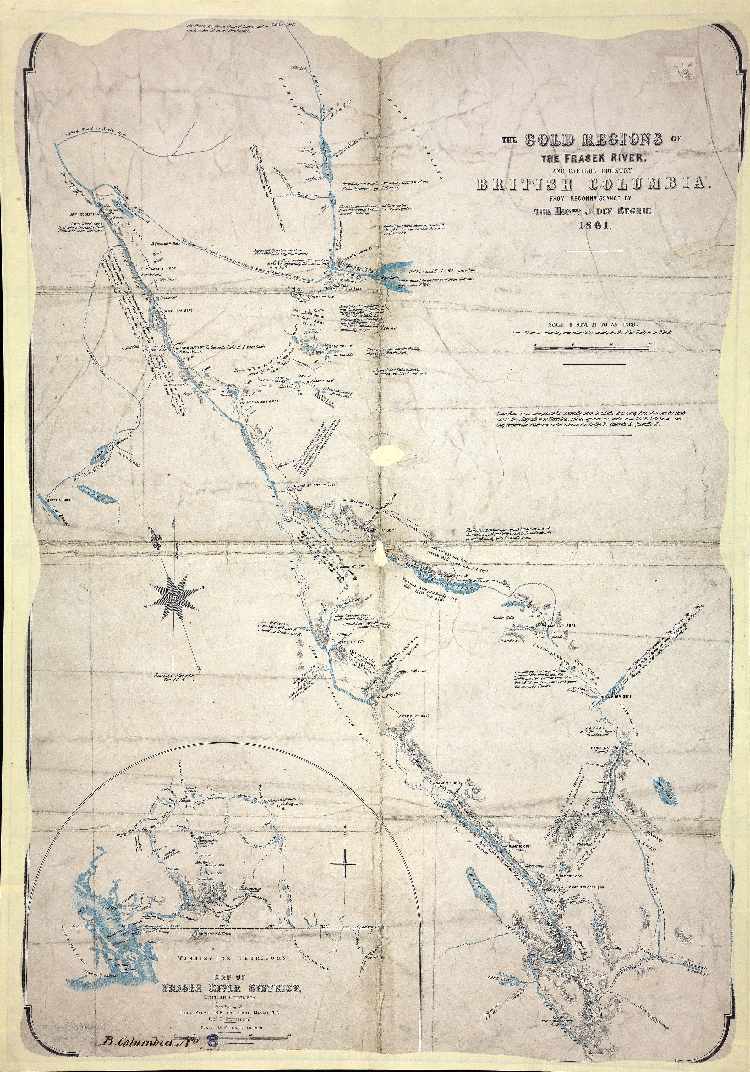 Gold Regions of the Fraser River and Cariboo Country, British Columbia, from reconnaissance by the Honourable Judge Begbie, 1861.