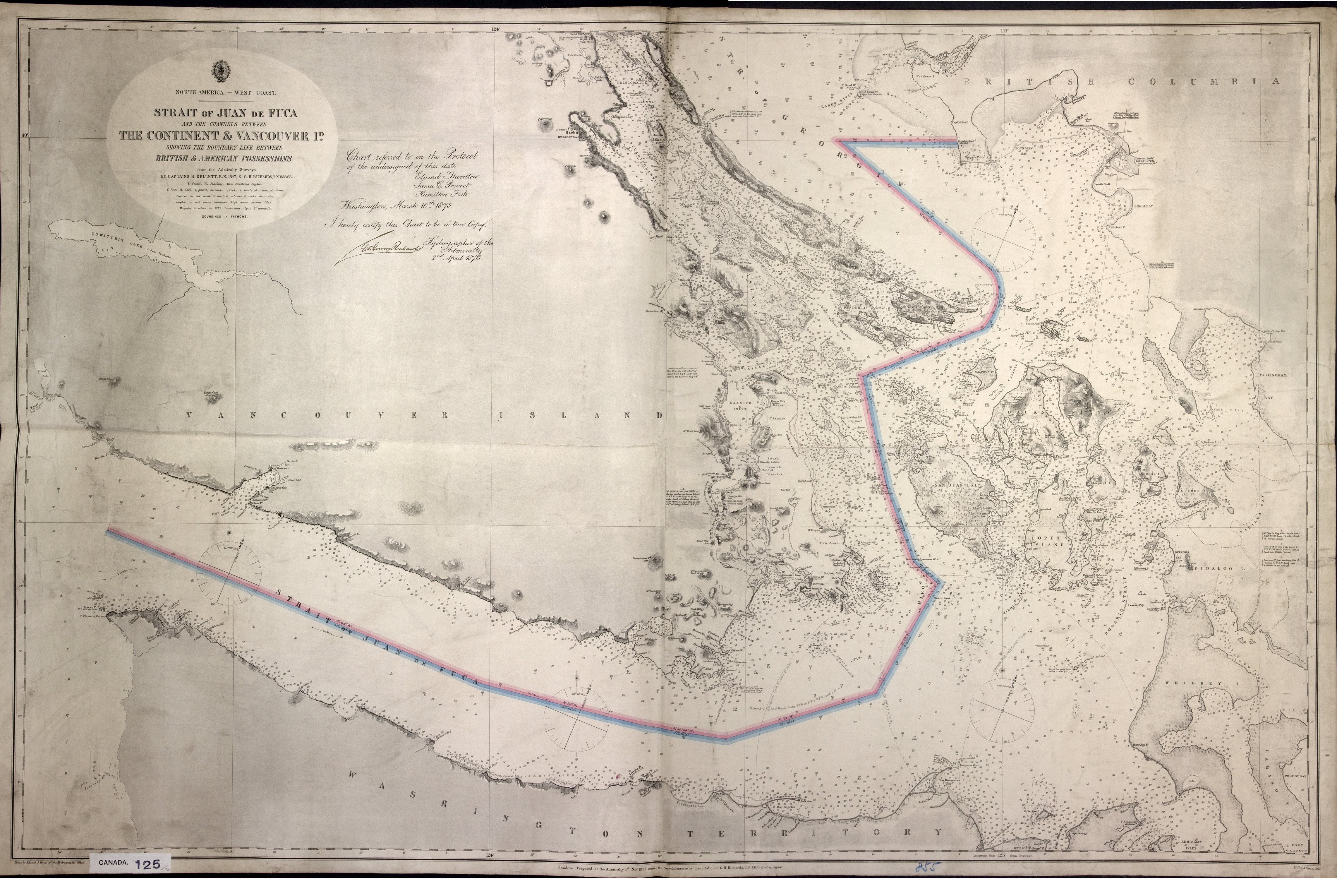 Strait of Juan de Fuca and the channels between the continent & Vancouver Id., showing the boundary line between British & American possessions.