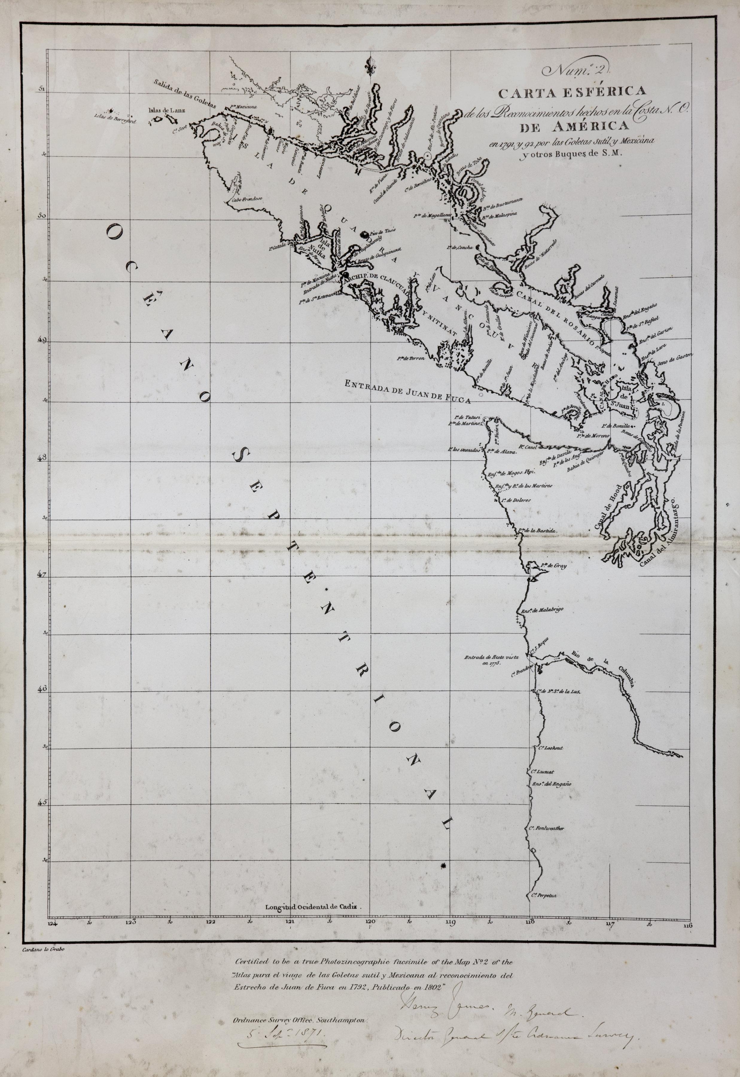 Carta Esferica de los Reconocimientos hechos en la Costa N. O. de America en 1791 y 92 por las Goletas sutil, y Mexicana y otros Buques de S.M.