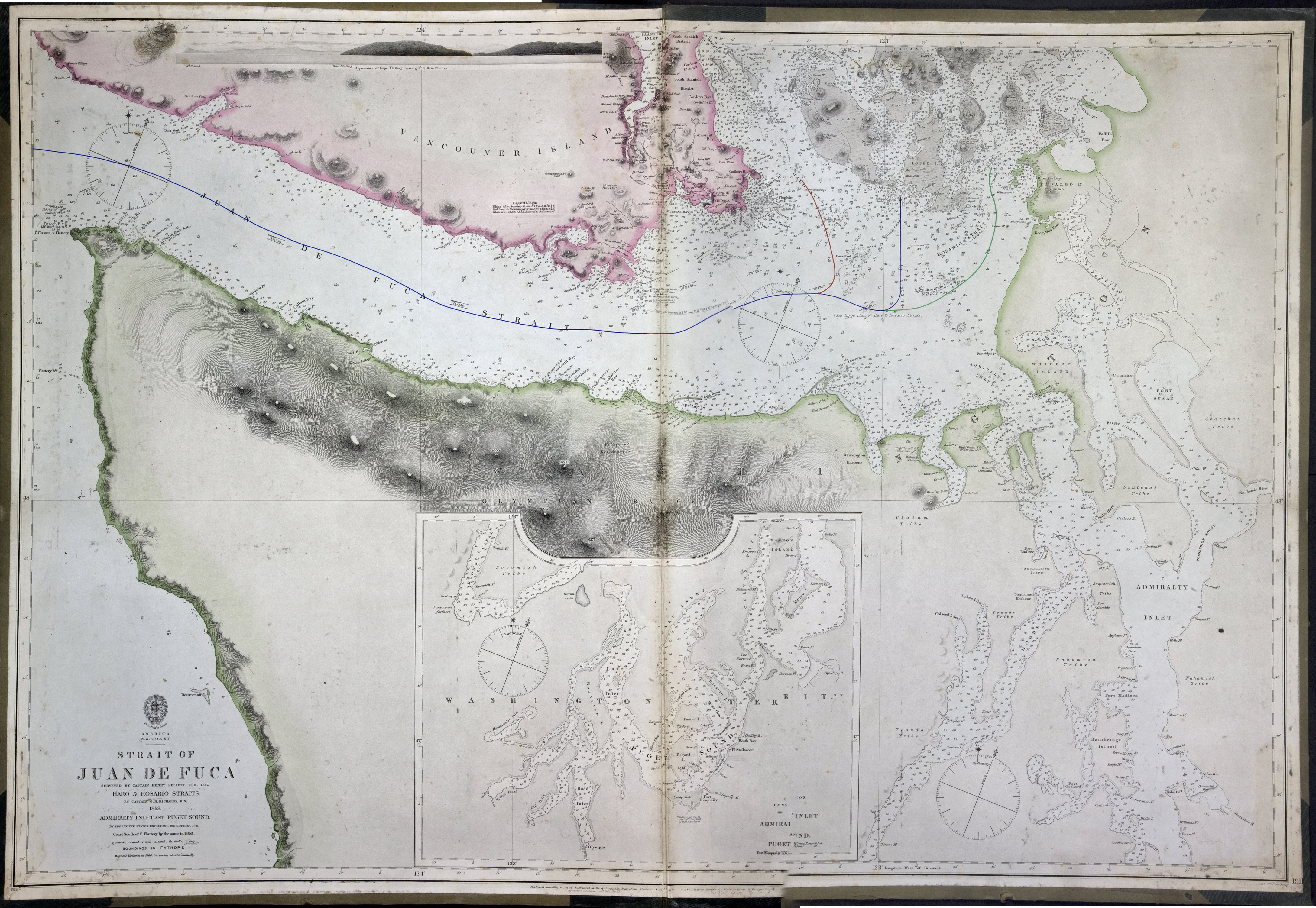 Strait of Juan de Fuca surveyed by Captain Henry Kellett, R.N., 1847, Haro & Rosario Straits by Captain G.H. Richards, R.N. 1858, Admiralty Inlet and Puget Sound by the United States exploring expedition, 1841, coast south of Cape Flattery by the same in 1853.
