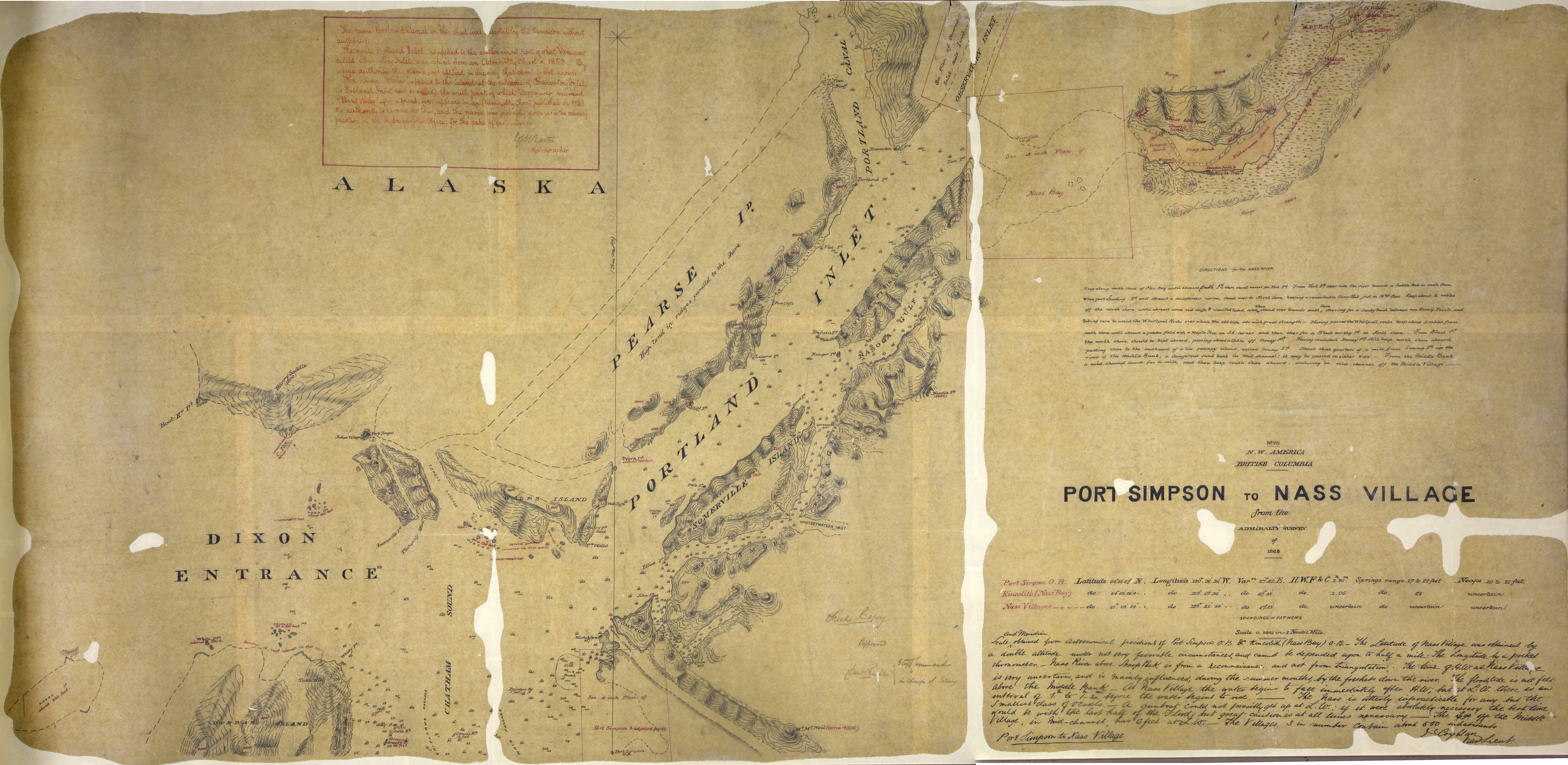 Port Simpson to Nass Village, from the Admiralty survey of 1868