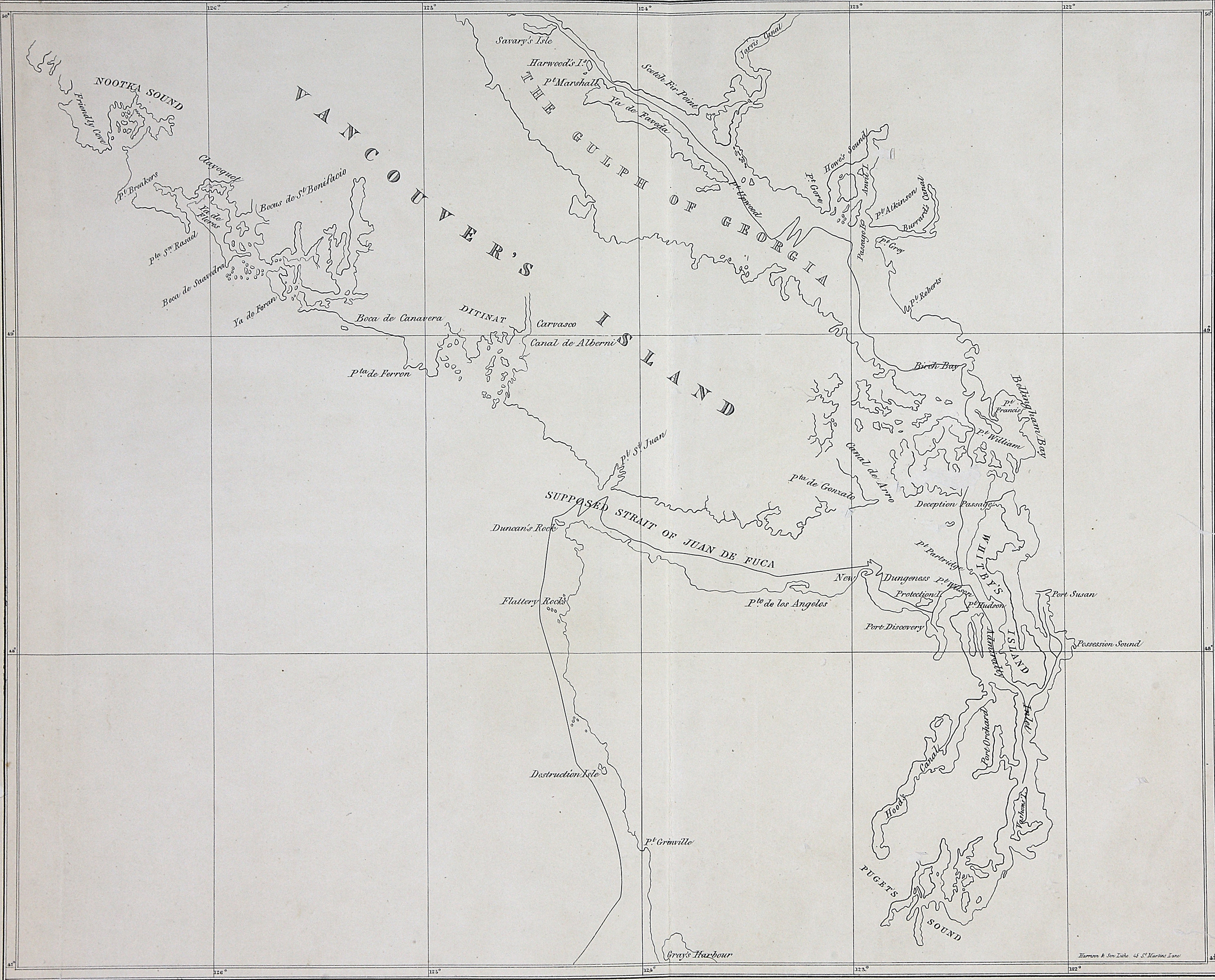 Map of part of Vancouver's Island, the Gulf of Georgia and supposed Strait of Juan de Fuca