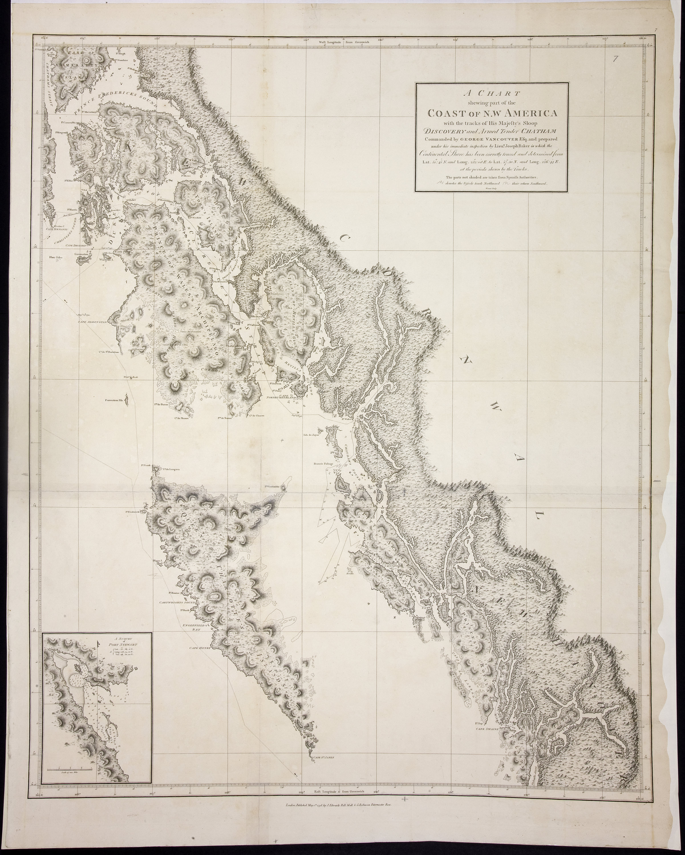 Chart shewing part of the Coast of N.W. America with the tracks of His Majesty's Sloop Discovery and Armed Tender Chatham, Commanded by George Vancouver Esq. and prepared under his immediate inspection by Lieut. Joseph Baker in which the continental shore has been correctly traced and determined from lat. 51 45ʹ N. and long. 232 08ʹ E. to lat. 57 30ʹ N. and long. 226 44ʹ E. at the periods shewn by the tracks ; Warner, sculp.