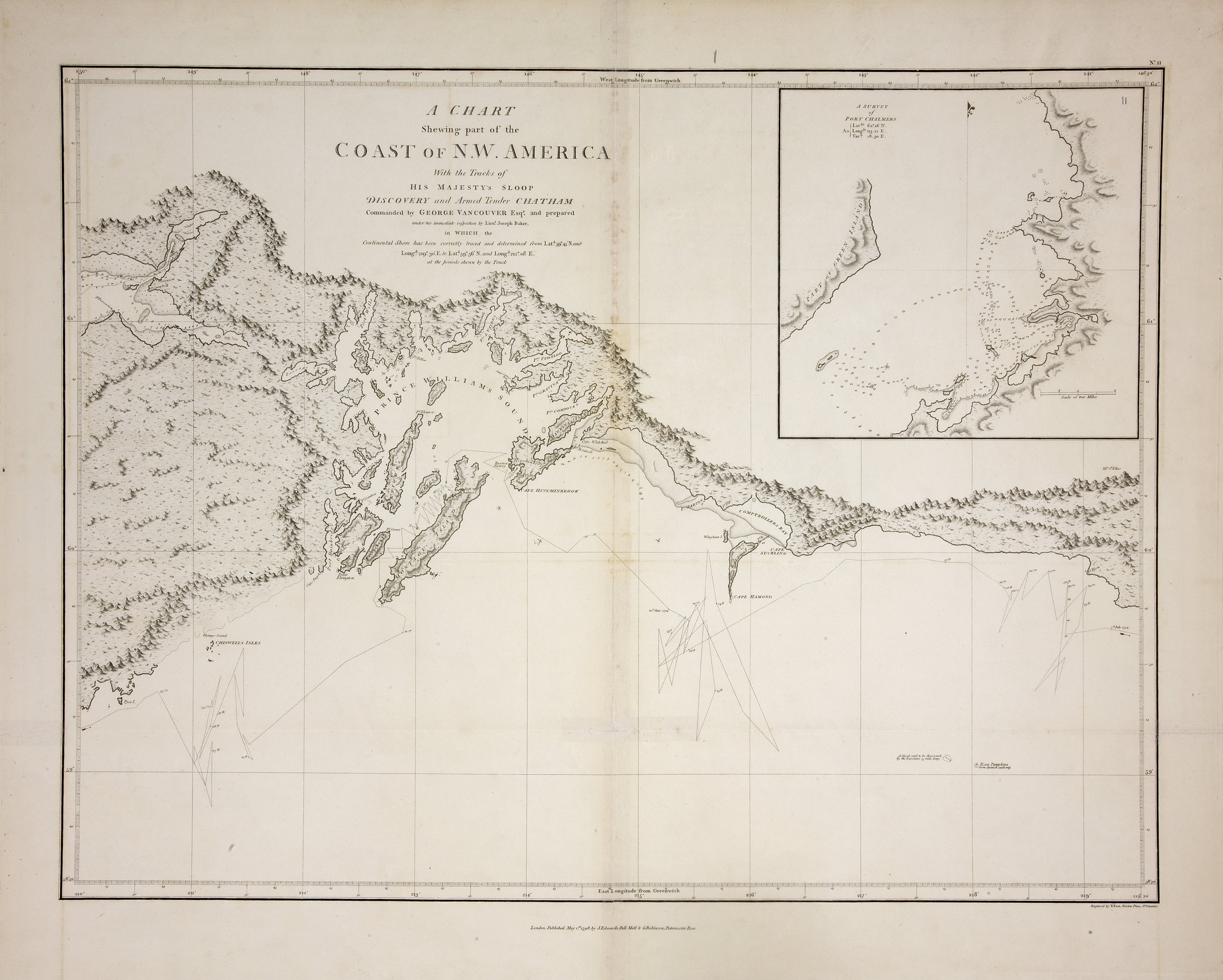 Chart shewing part of the coast of N.W. America, with the tracks of His Majesty's sloop Discovery and armed tender Chatham / ǂc commanded by George Vancouver, esqr. and prepared under his immediate inspection by Lieut. Joseph Baker, in which the continental shore has been correctly traced and determined from latd. 59⁰.45ʹ N. and longd. 219⁰.30ʹ E. to latd. 59⁰.56ʹ N. and longd. 212⁰.08ʹ E. at the periods shewn by the track ; engraved by T. Foot.