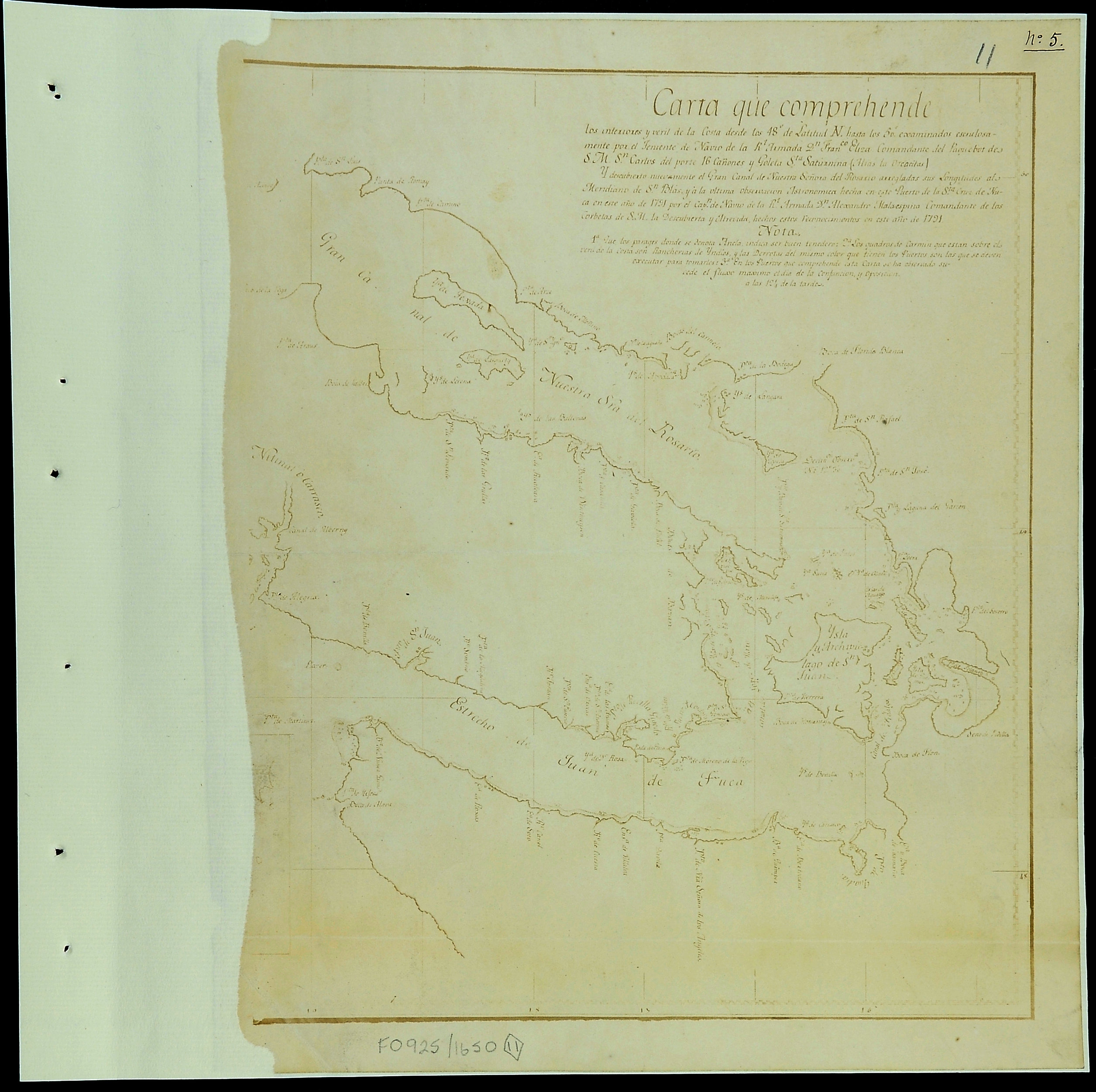 San Juan Water Boundary (Arbitration) : list of maps sent to Admiral Prevost at Berlin on the 12th June 1872 [map 11]