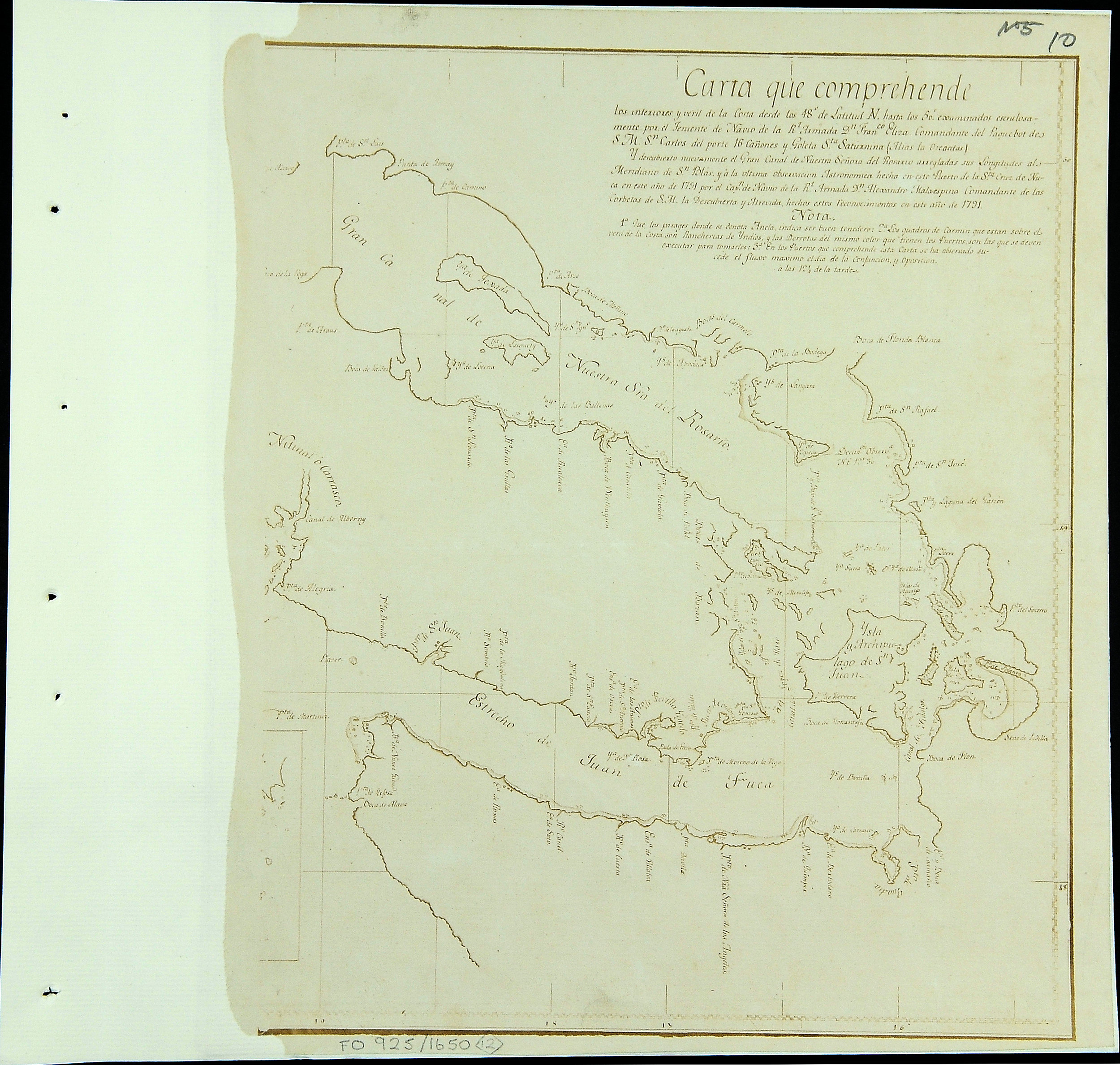 San Juan Water Boundary (Arbitration) : list of maps sent to Admiral Prevost at Berlin on the 12th June 1872 [map 12]