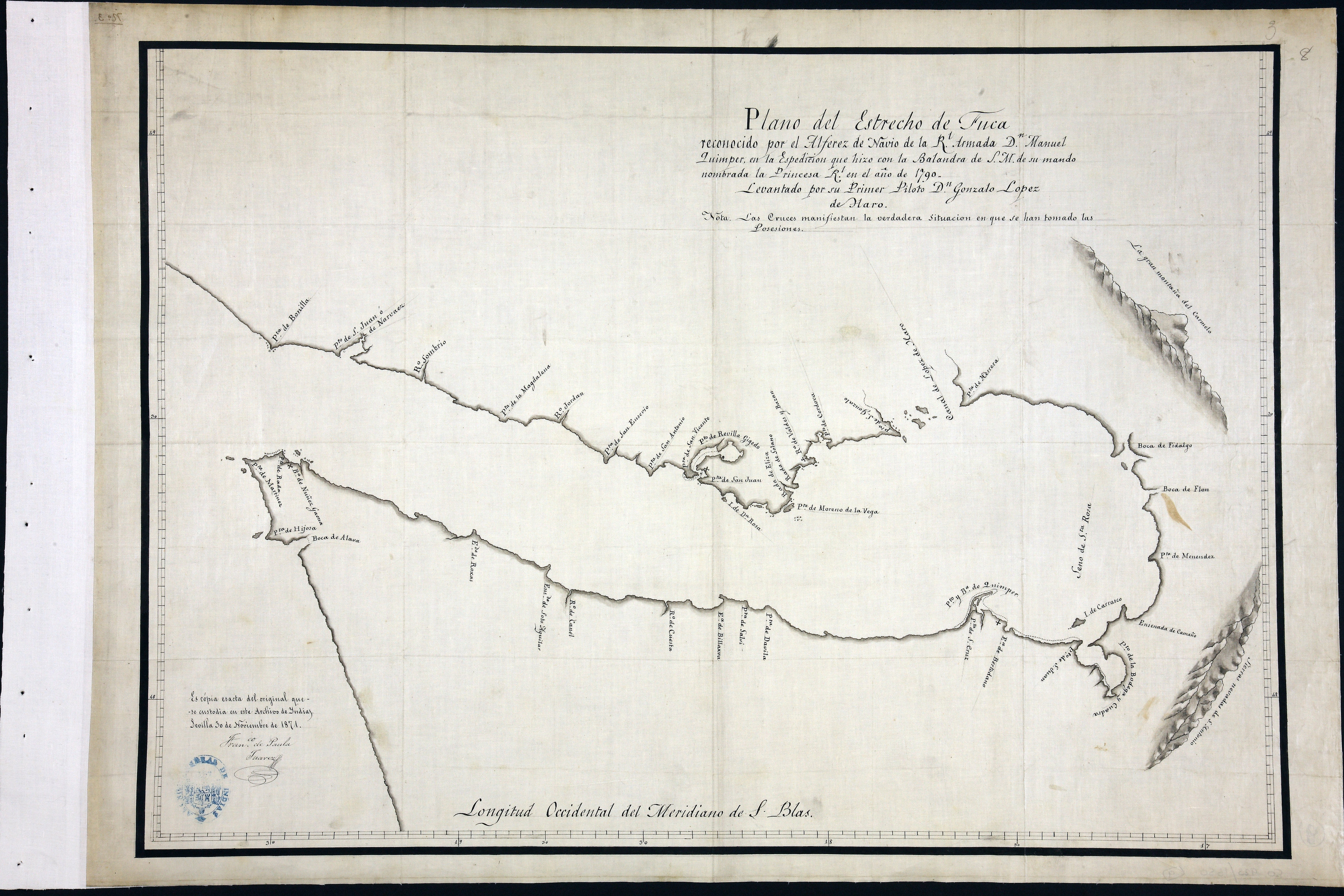 San Juan Water Boundary (Arbitration) : list of maps sent to Admiral Prevost at Berlin on the 12th June 1872 [map 9]