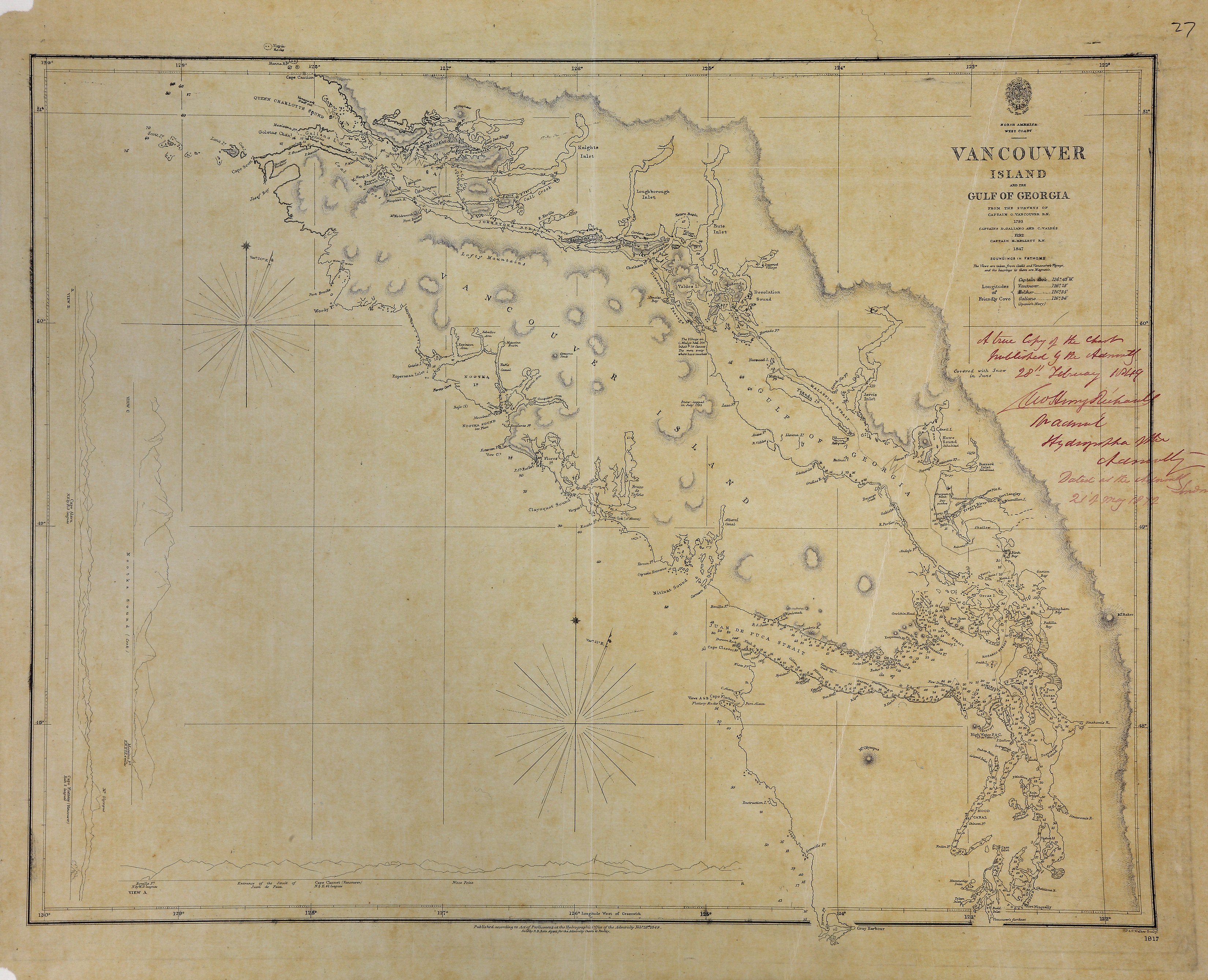 San Juan Water Boundary (Arbitration) : list of maps sent to Admiral Prevost at Berlin on the 12th June 1872 [map 26]