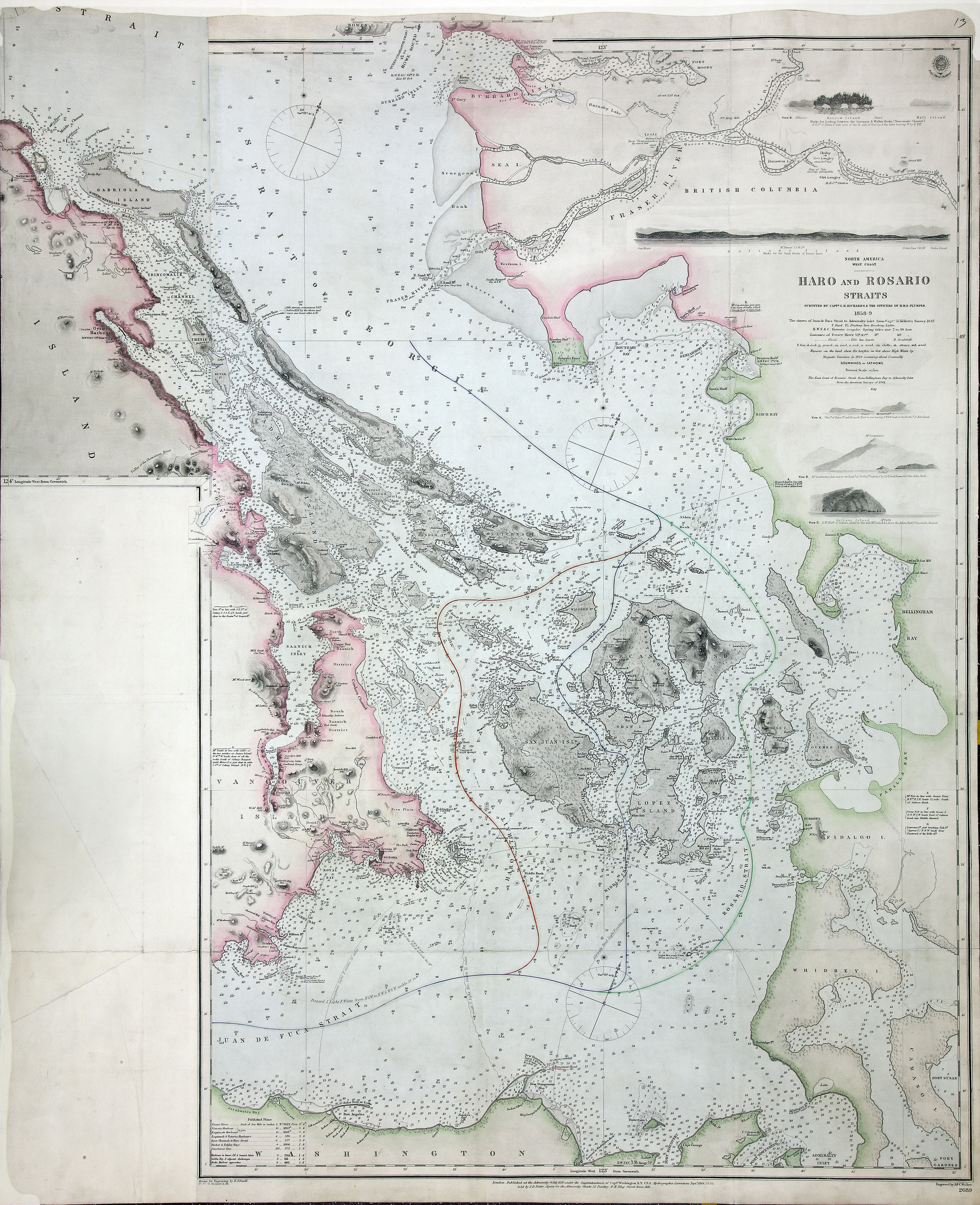 San Juan Water Boundary (Arbitration) : list of maps sent to Admiral Prevost at Berlin on the 12th June 1872 [map 38]