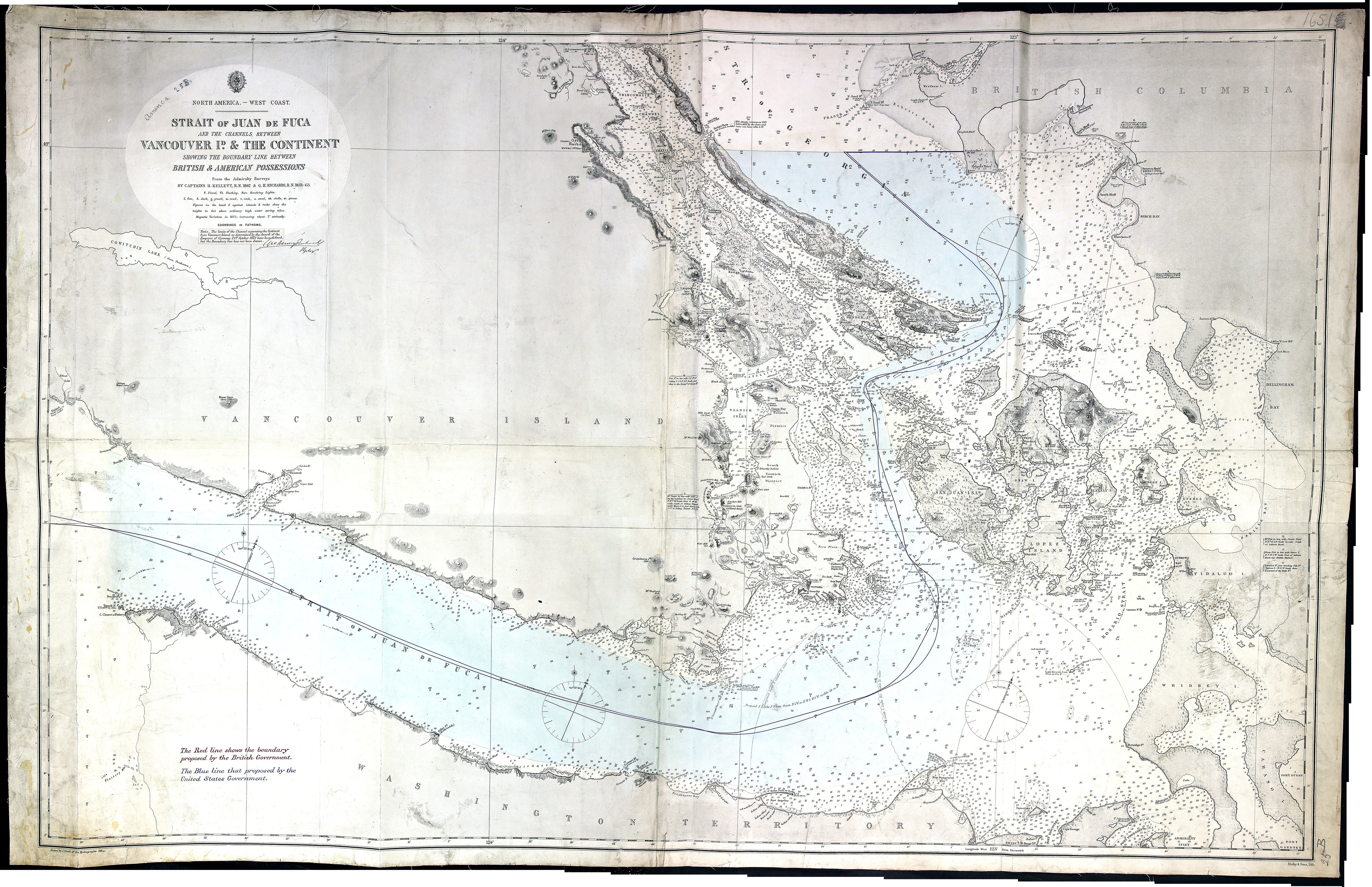 Strait of Juan de Fuca and the channels between Vancouver Id. & the continent, showing the boundary line between British & American possessions