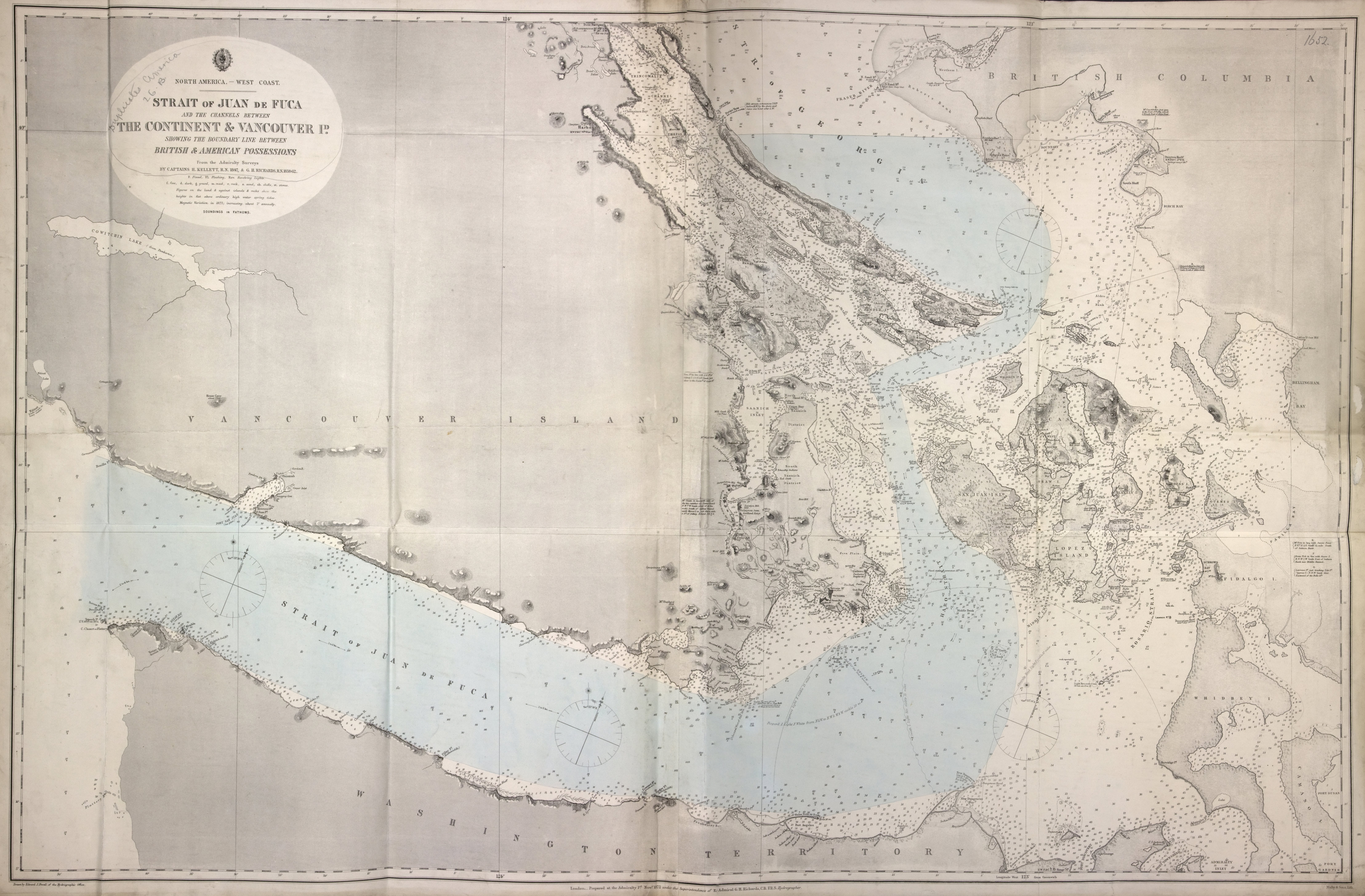 Strait of Juan de Fuca and the channels between the continent & Vancouver Id. showing the boundary line between British & American possessions.