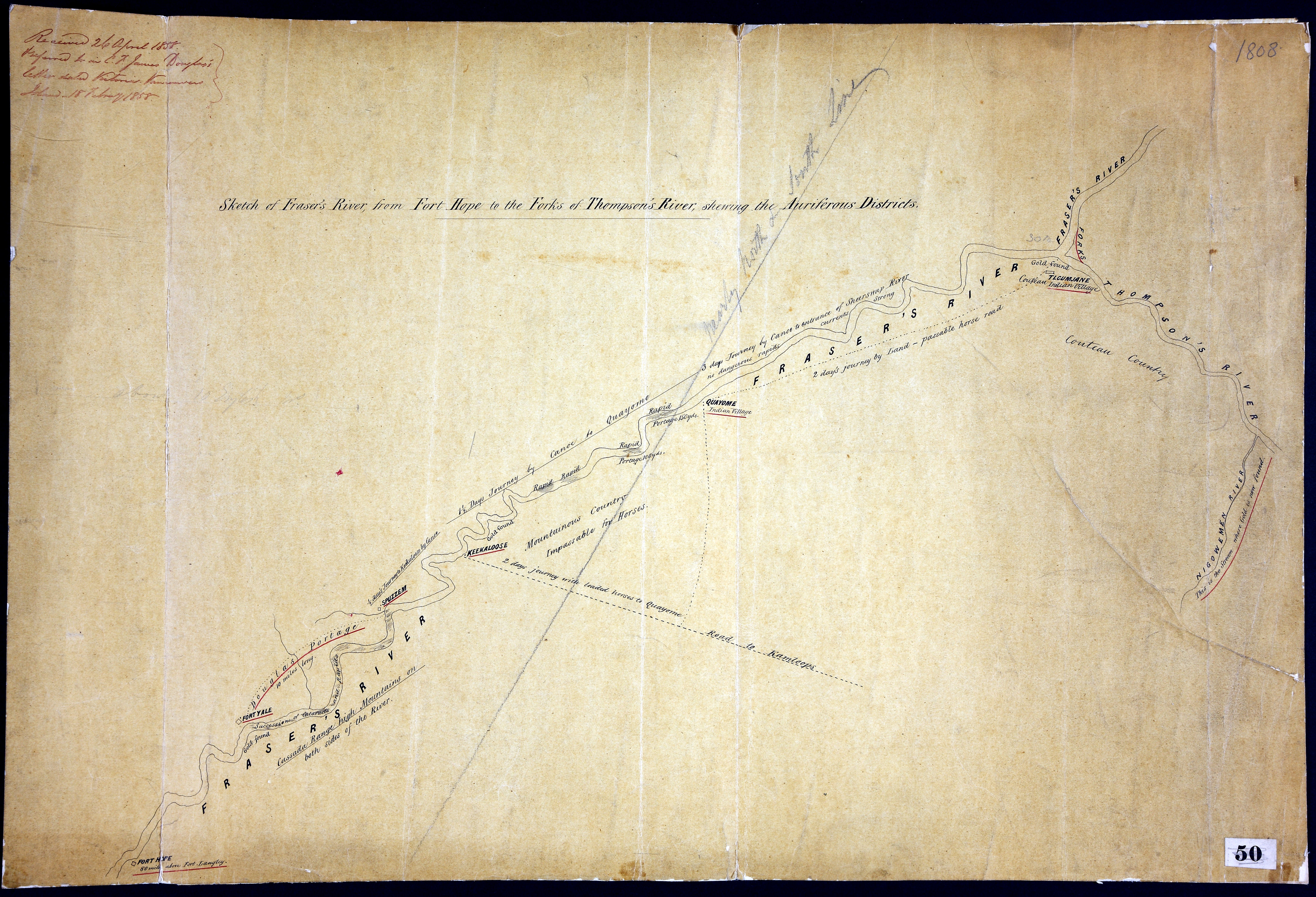 Sketch of Fraser's River, from Fort Hope to the forks of Thompson's River, showing the Auriferous districts.
