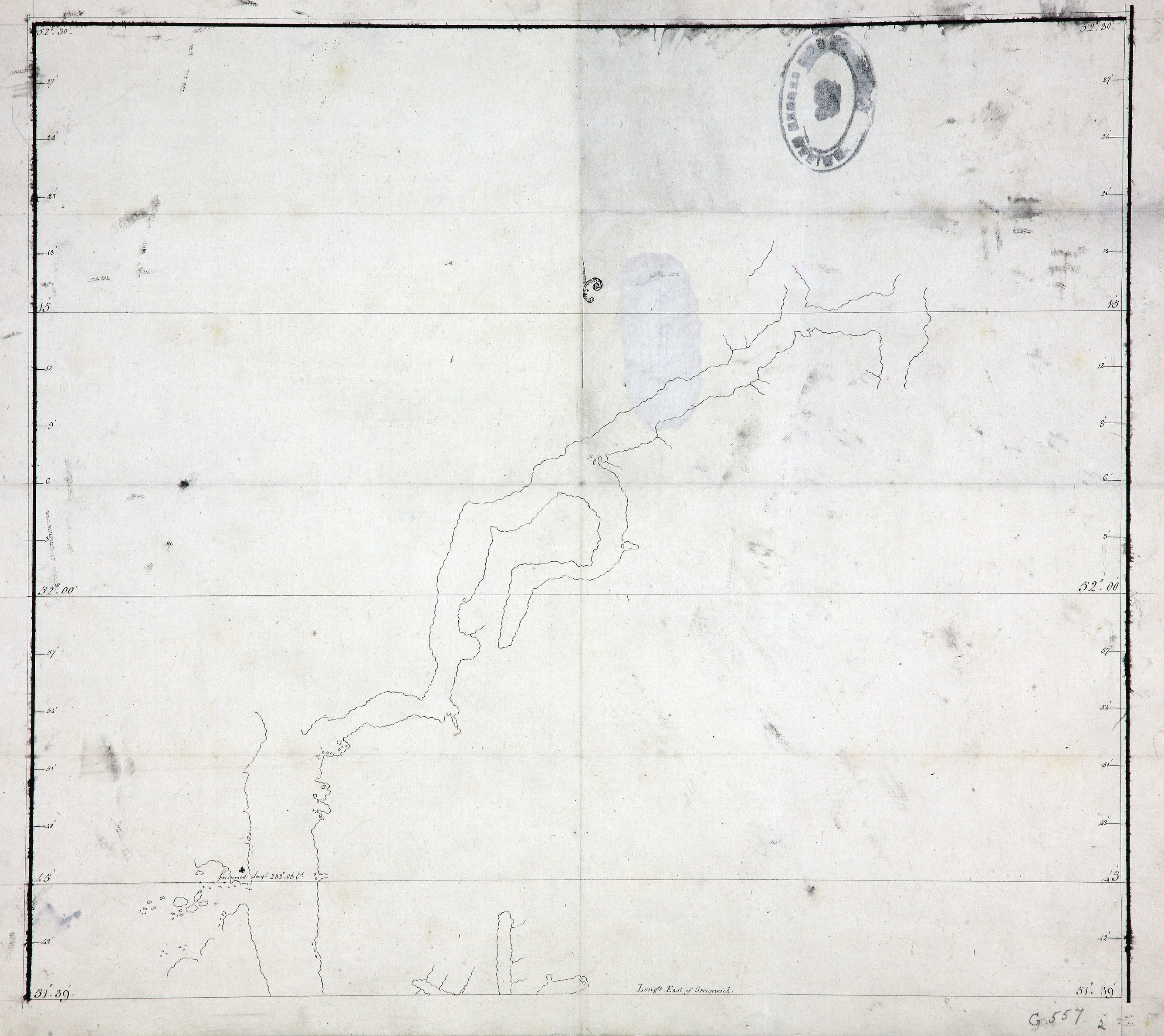 Outline chart of the coast of Burke Channel, with the northern part of FitzHugh Sound.