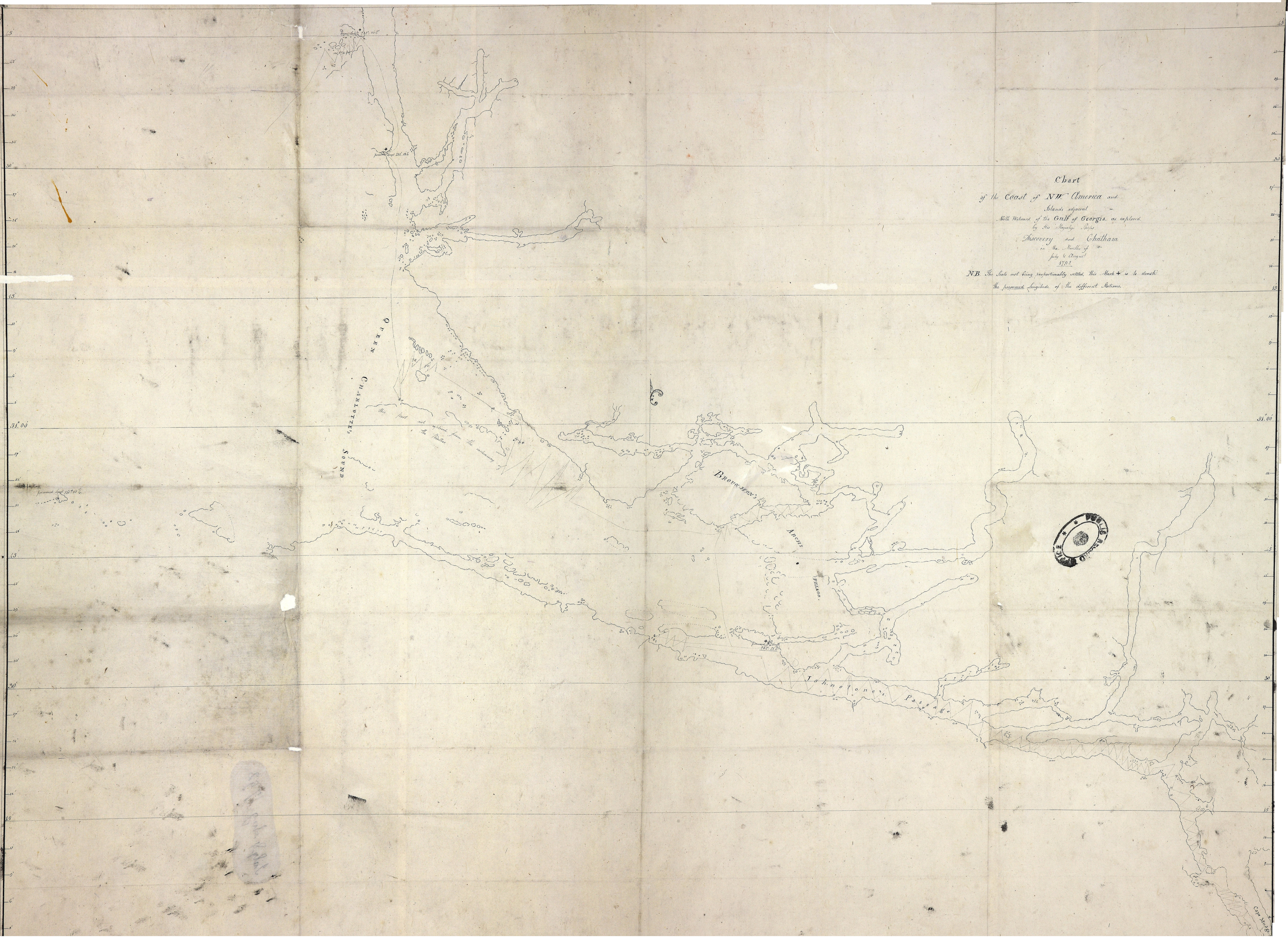 Chart of the Coast of NW America and Islands adjacent North Westward of the Gulf of Georgia as explored by His Majesty's Ships Discovery and Chatham in the Months of July & August 1792.', covering Queen Charlotte Sound from the sea to Cape Mudge. Scale: 1 inch to about 4½ miles. Compass indicator. Longitude is shown east from Greenwich. [Queen Charlotte Sound, 1792]