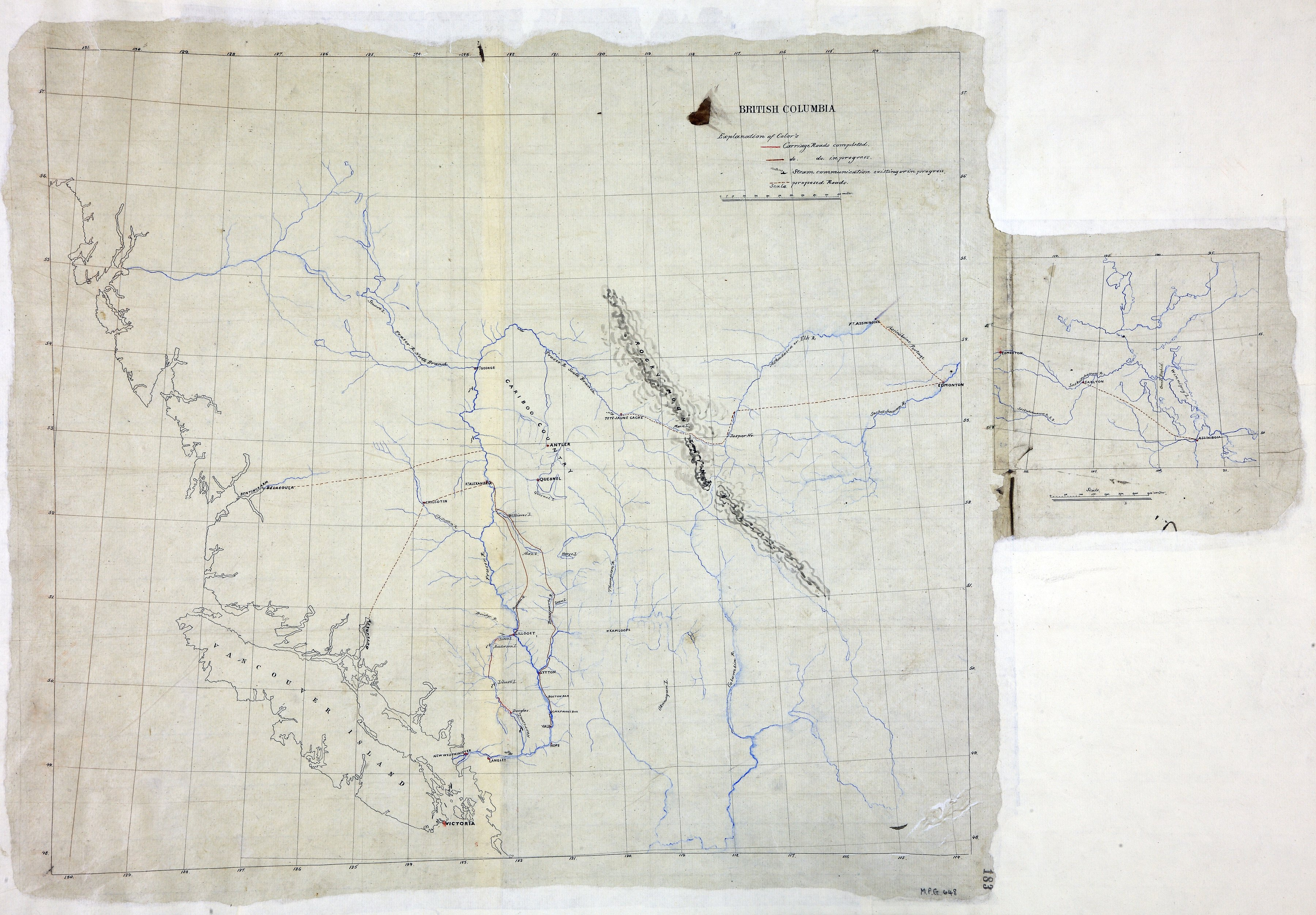 British Columbia, showing carriage roads completed, in progress, and proposed.