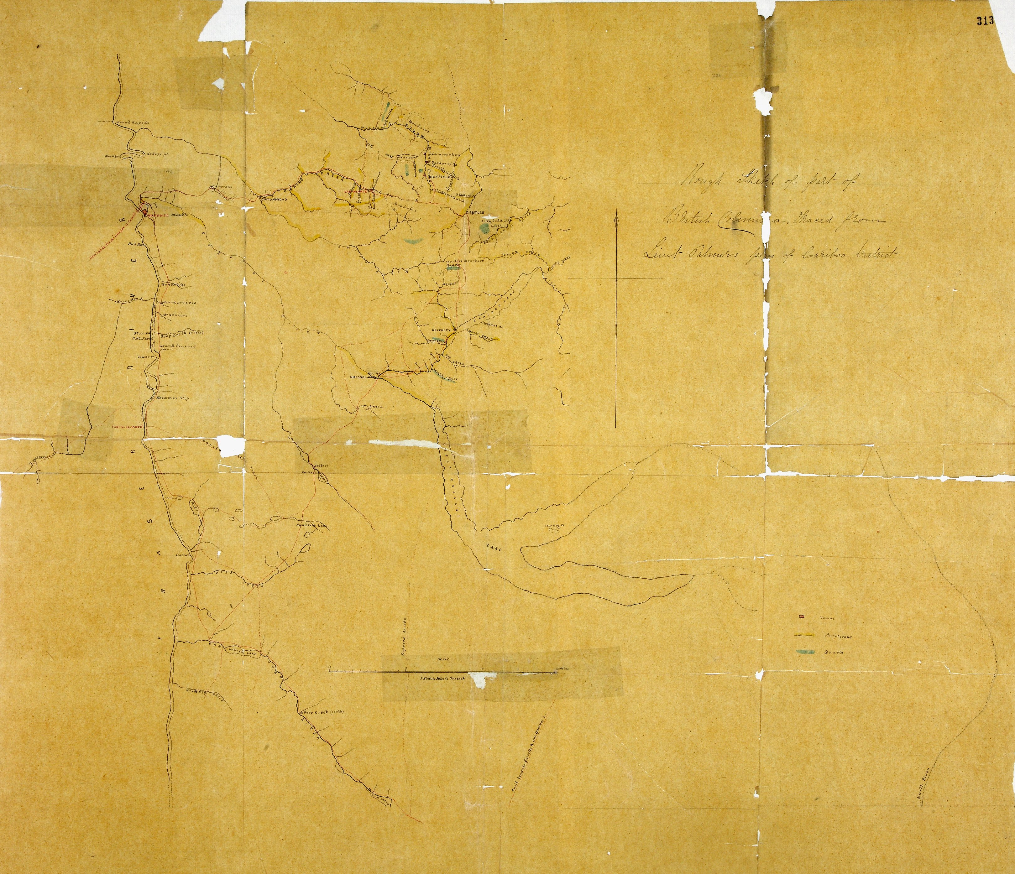 Rough Sketch of Part of British Columbia traced from Lieut. Palmer's plan of Cariboo District.