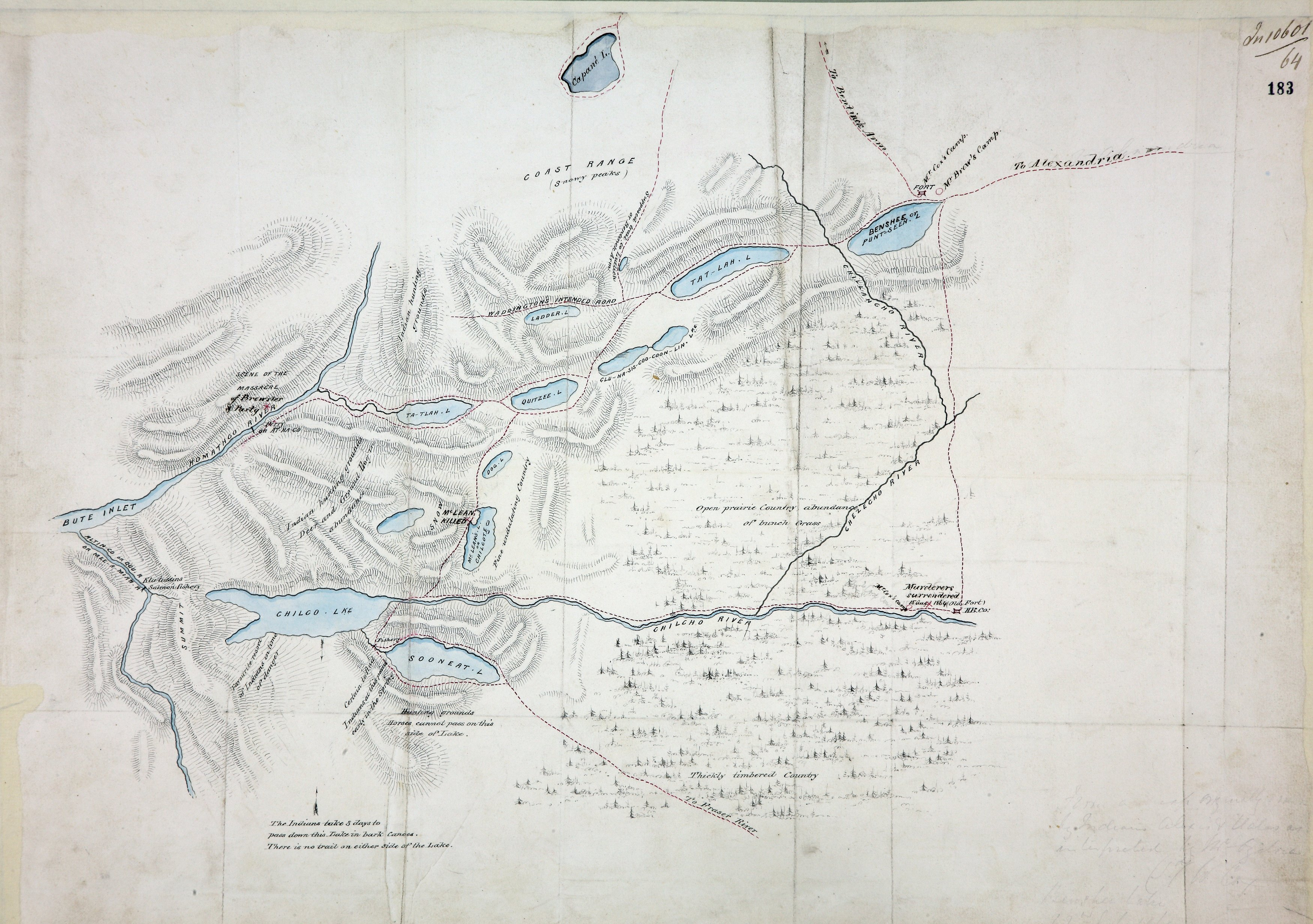 Sketch map of the country north and east of Bute Inlet to the Chilanko, Chezech and Chilko Rivers.