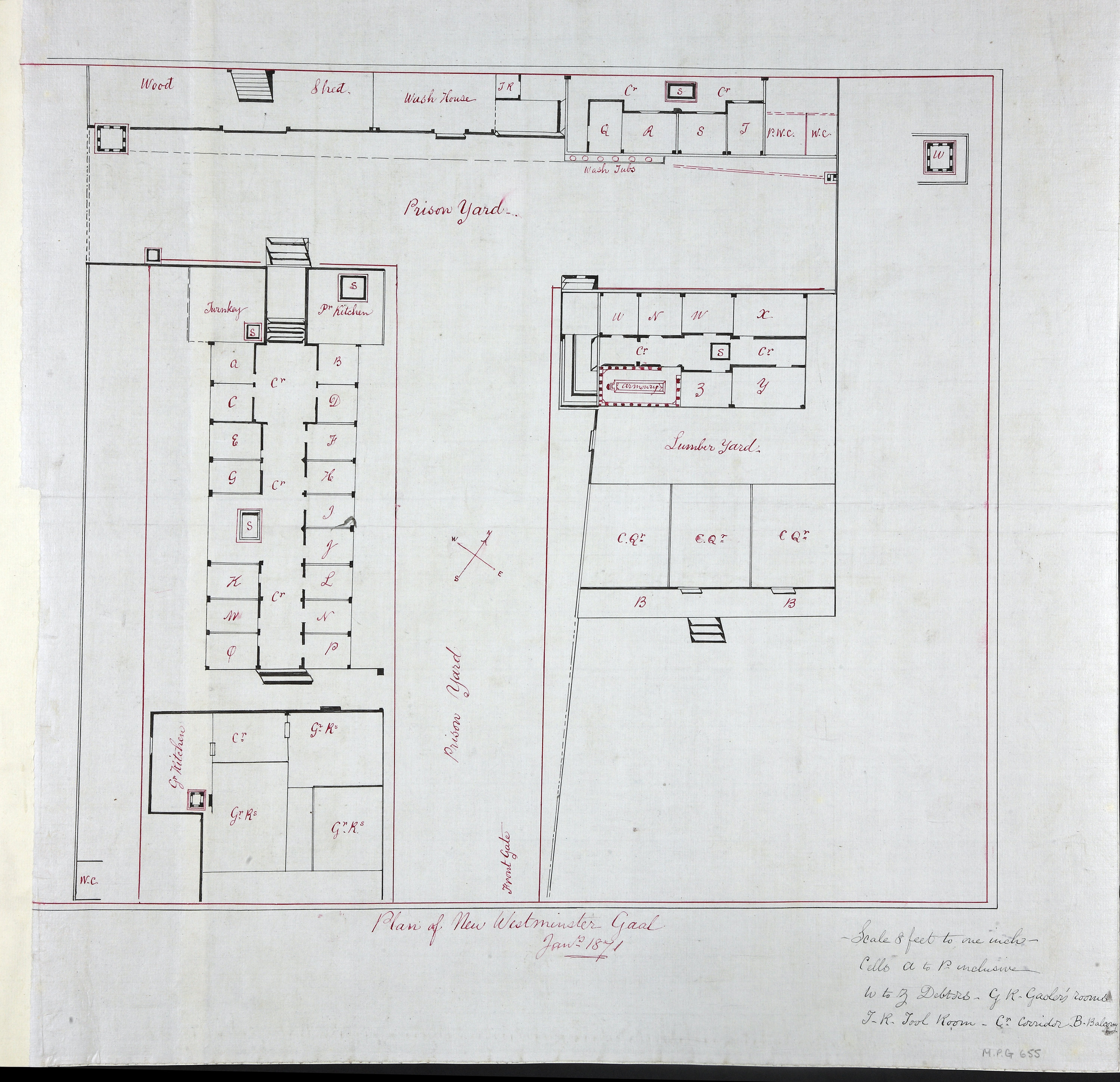 Plan of New Westminster Gaol Jany. 1871.