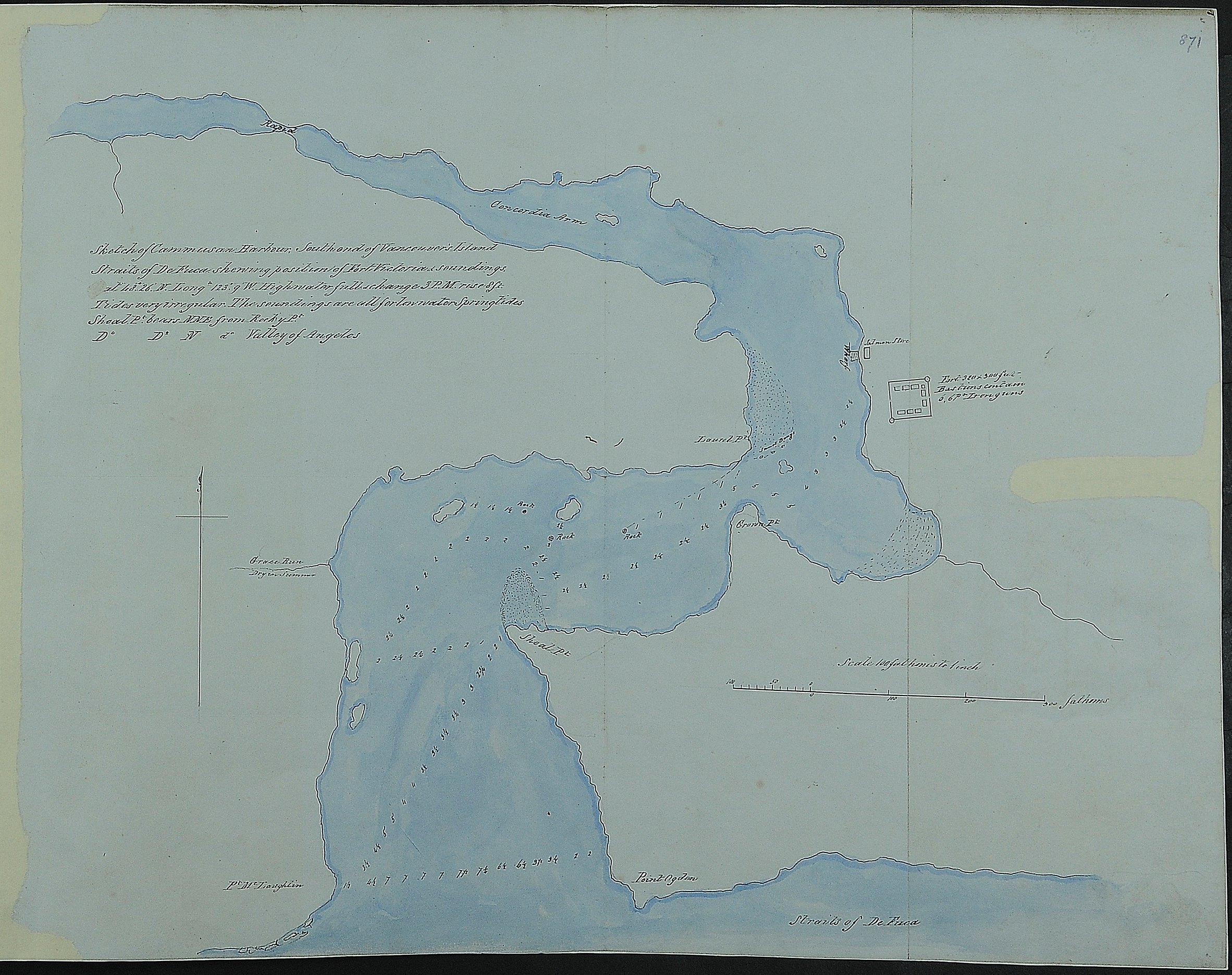Sketch of Cammusan Harbour south end of Vancouver's Island, Straits of De Fuca shewing position of Fort Victoria & soundings.