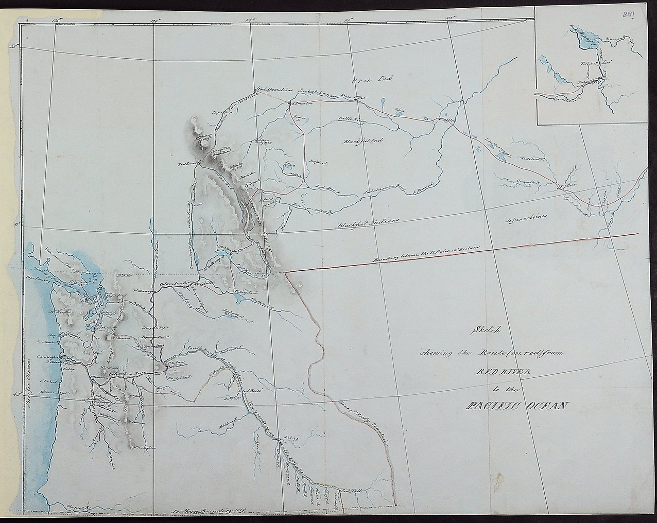 Sketch shewing the route (in red) from Red River to the Pacific Ocean.