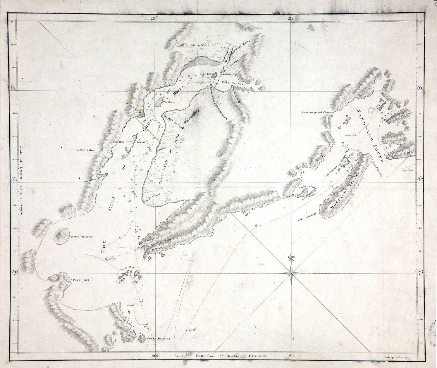 Sketch of the Gulf of Good Hope (now Cook Inlet) and Sandwich Sound (now Prince William Sound)