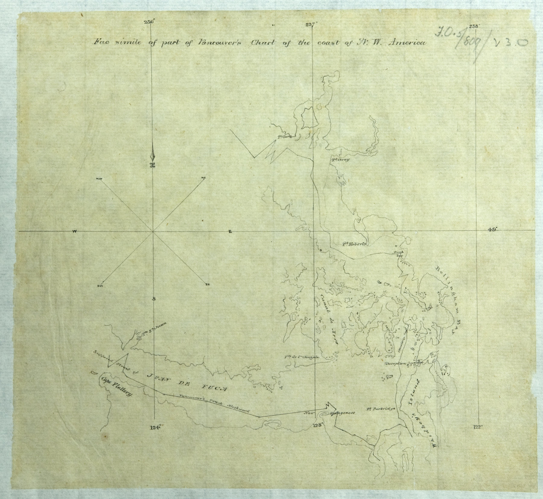 Facsimile of part of Vancouver's chart of the coast of N.W. America.
