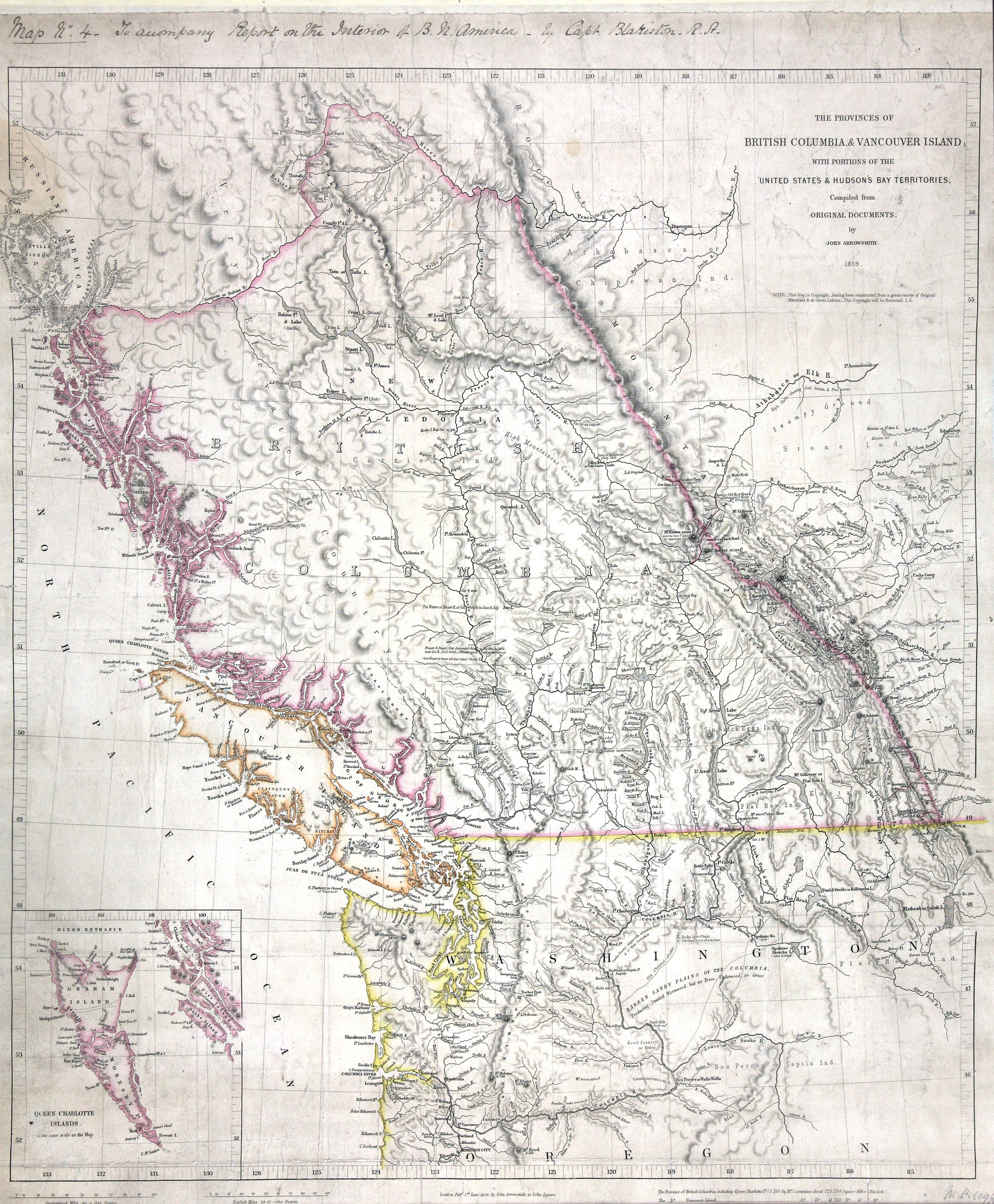 of British Columbia and Vancouver Island with portions of the