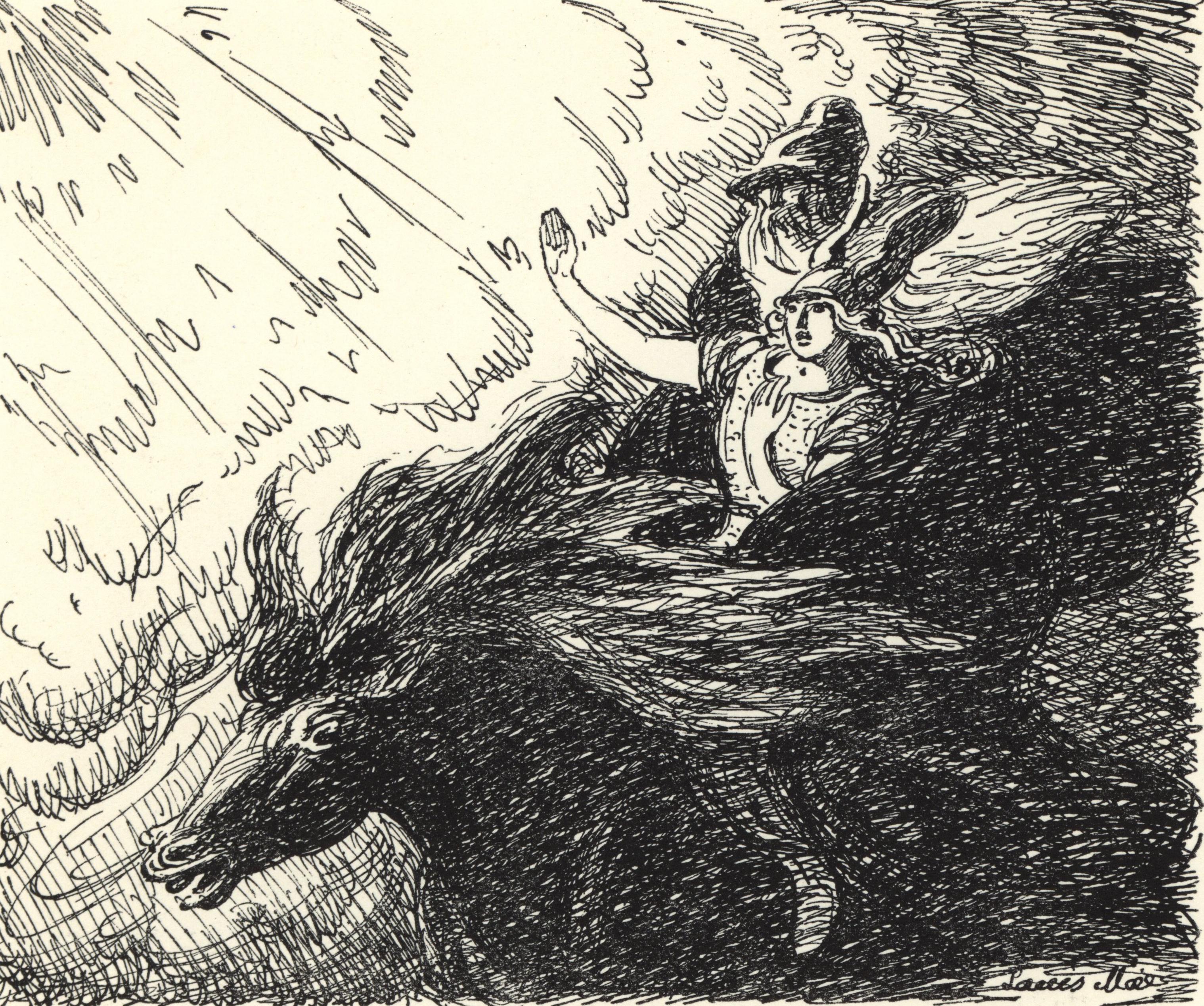 Óðinn Taking Vébjörg to Valhöll