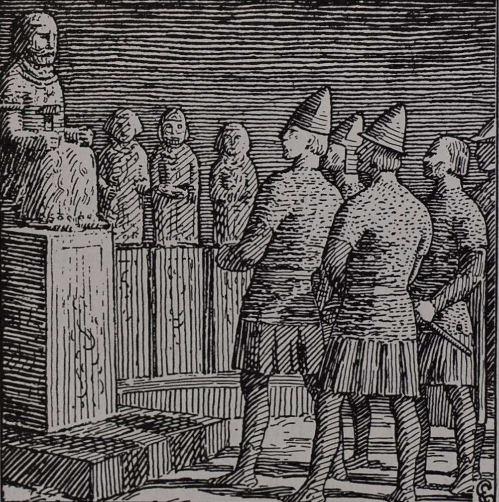 King Óláfr Tryggvason in a Pagan Temple