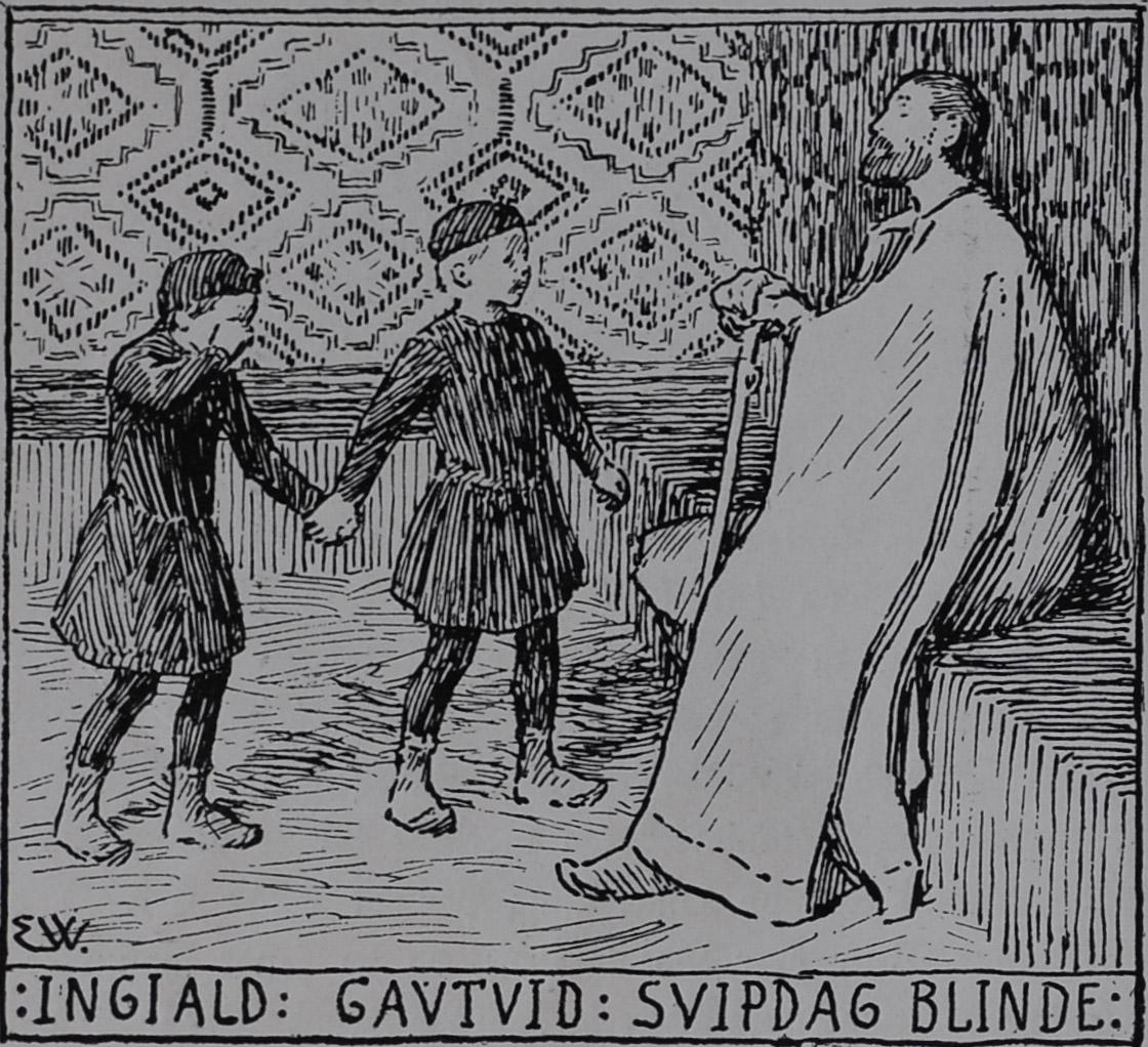 Gautviðr Taking Ingjaldr to see Svipdagr                                Blinda