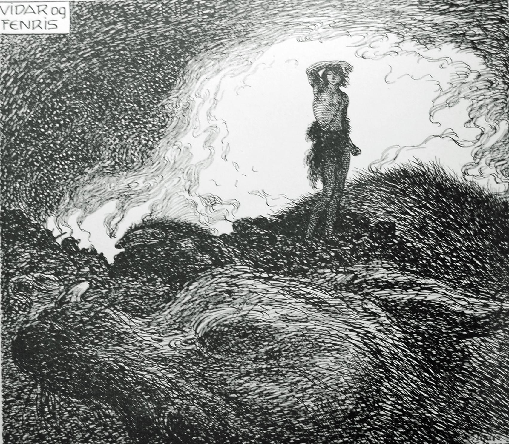 Víðarr and Fenrir