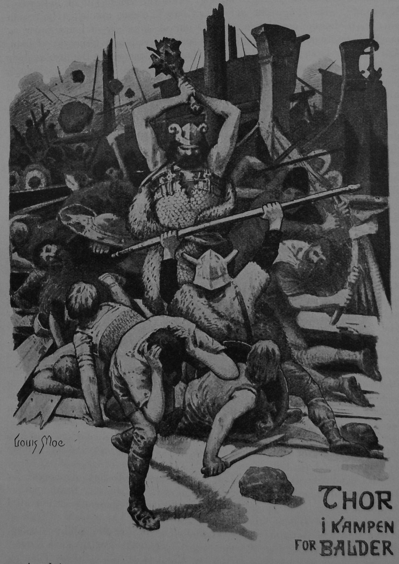 Þórr Fighting With a Club
